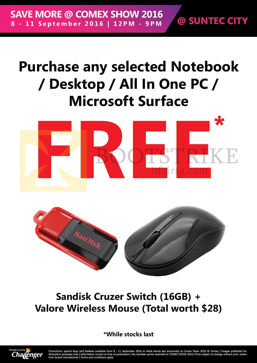 COMEX 2016 price list image brochure of Challenger Free Gifts With Selected Notebook, Desktop, AIO Desktop PCs