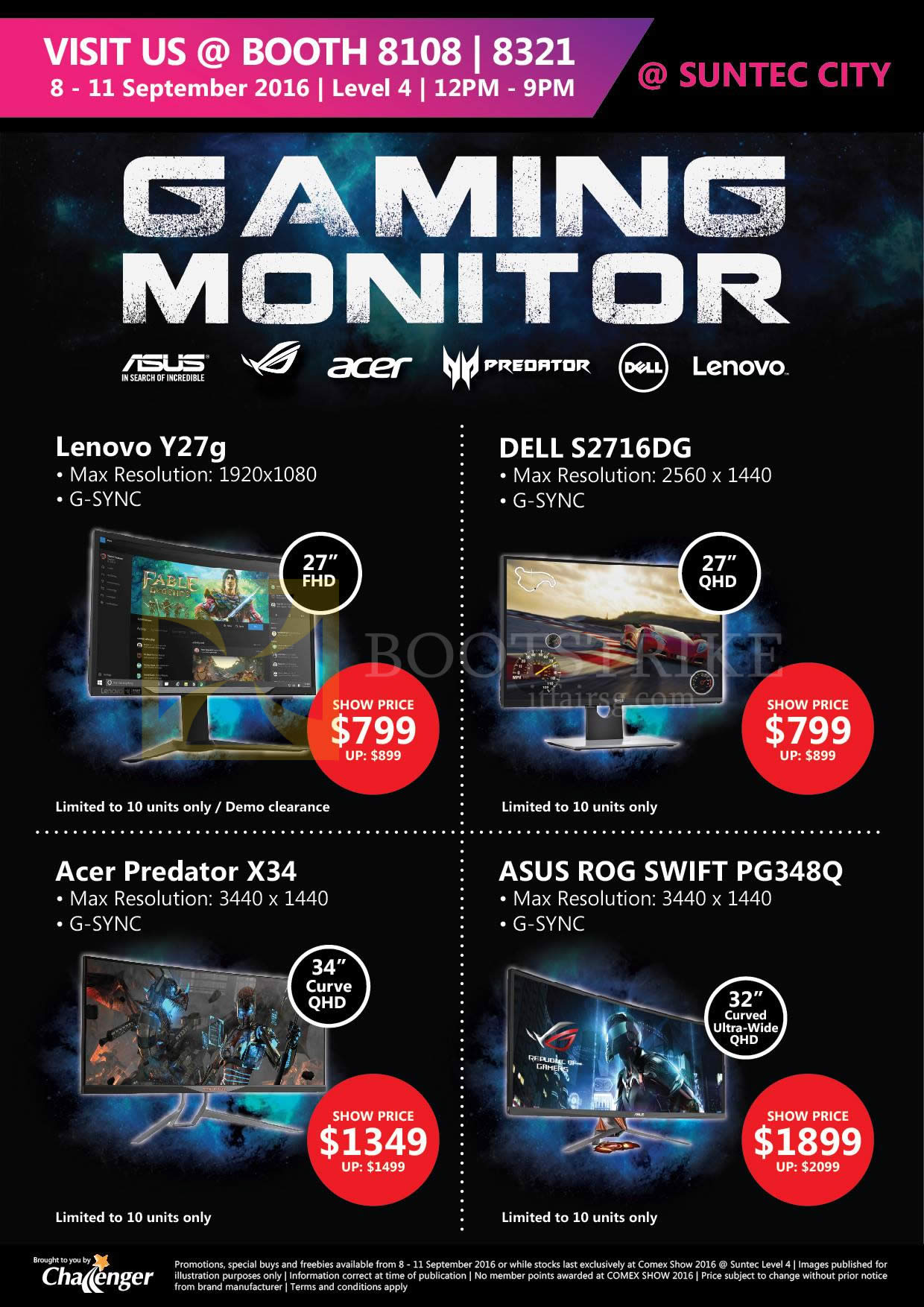 COMEX 2016 price list image brochure of Challenger Gaming Monitors Lenovo Y27G, Dell S2716DG, Acer PRedator X34, Asus ROG Swift PF348Q