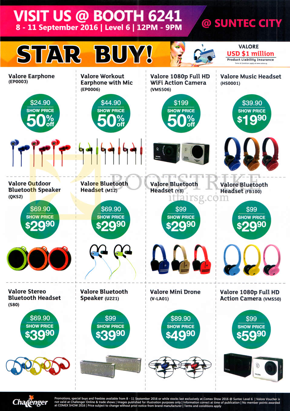 COMEX 2016 price list image brochure of Challenger Valore Earphones, Headphones, Speakers, Valore Earphone, Workout, Music Headset, Bluetooth Headset, Mini Drone, 1080p Full HD Action Camera