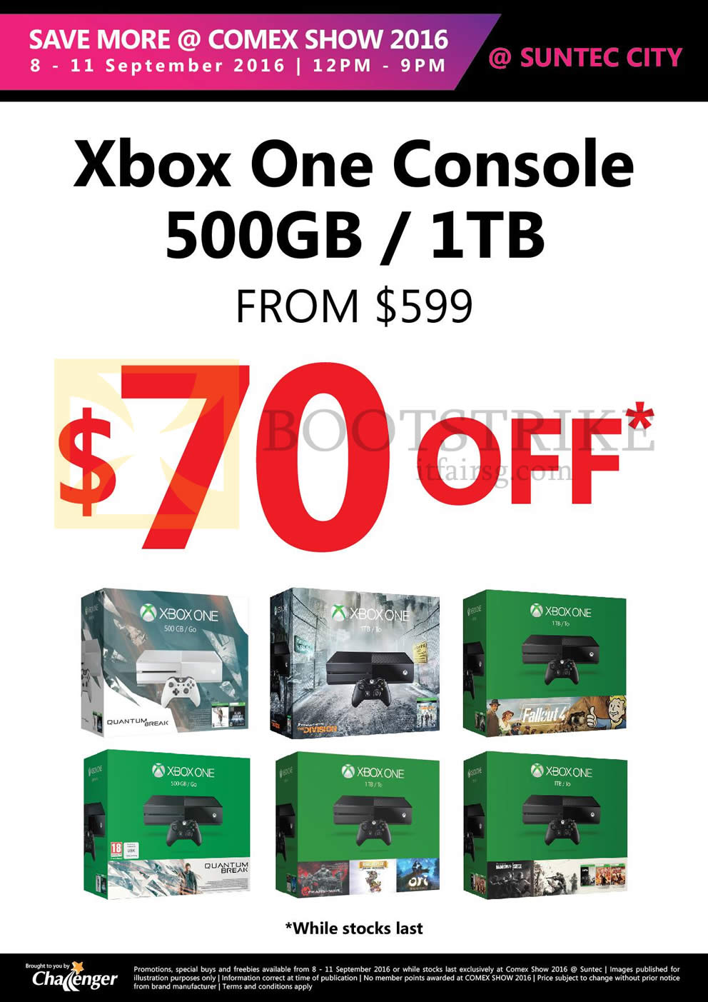 COMEX 2016 price list image brochure of Challenger Xbox One Console 500GB, 1TB