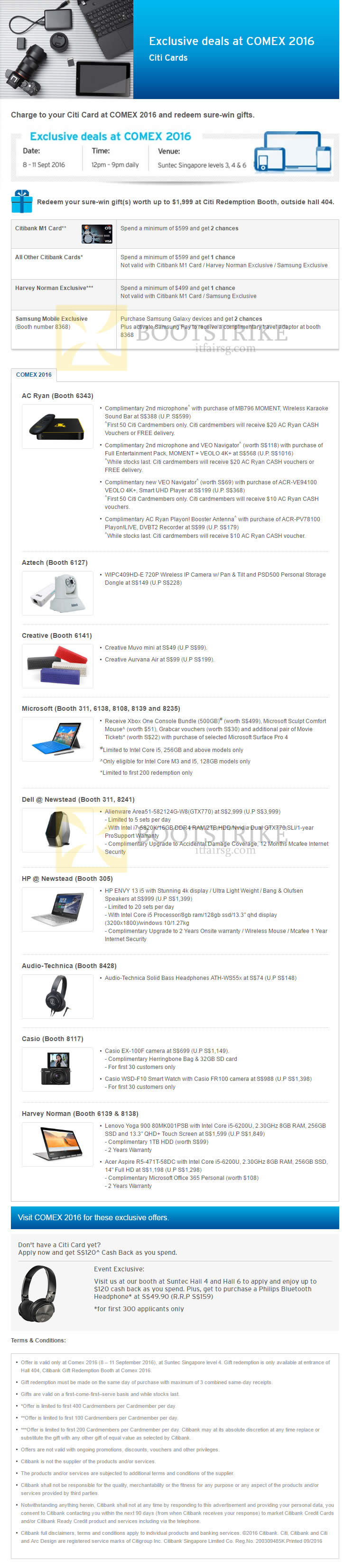 COMEX 2016 price list image brochure of Citibank Exclusive Deals, Spend N Redeem Sure-Win Gift, AC Ryan, Creative, Aztech, Microsoft, Dell, HP, Casio