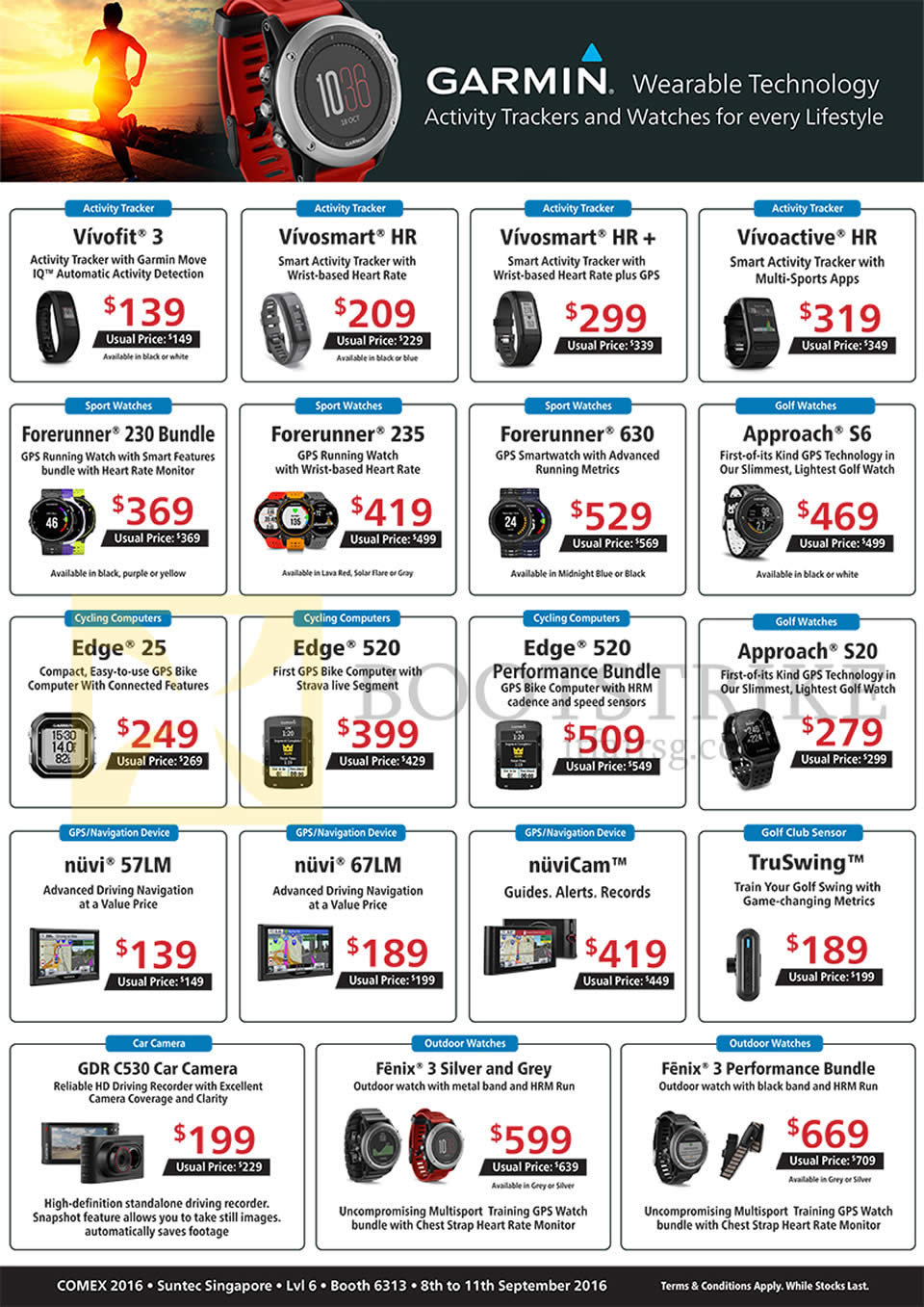 COMEX 2016 price list image brochure of Convergent Garmin Activity Trackers, Watches Vivofit 3, Vivosmart HR, Plus, Vivoactive, Forerunner 230, 235, 630, Approach S6, S20, Edge 25 520, Nuvi 57LM 67LM, TruSwing,C530 Car Camera