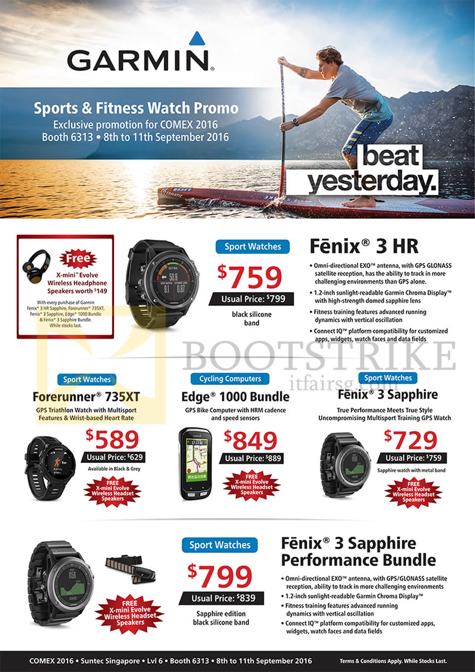 COMEX 2016 price list image brochure of Convergent Garmin GPS Activity Trackers, Watches, Fenix 3 HR, 3 Sapphire, Edge 1000 Bundle, ForeRunner 735XT