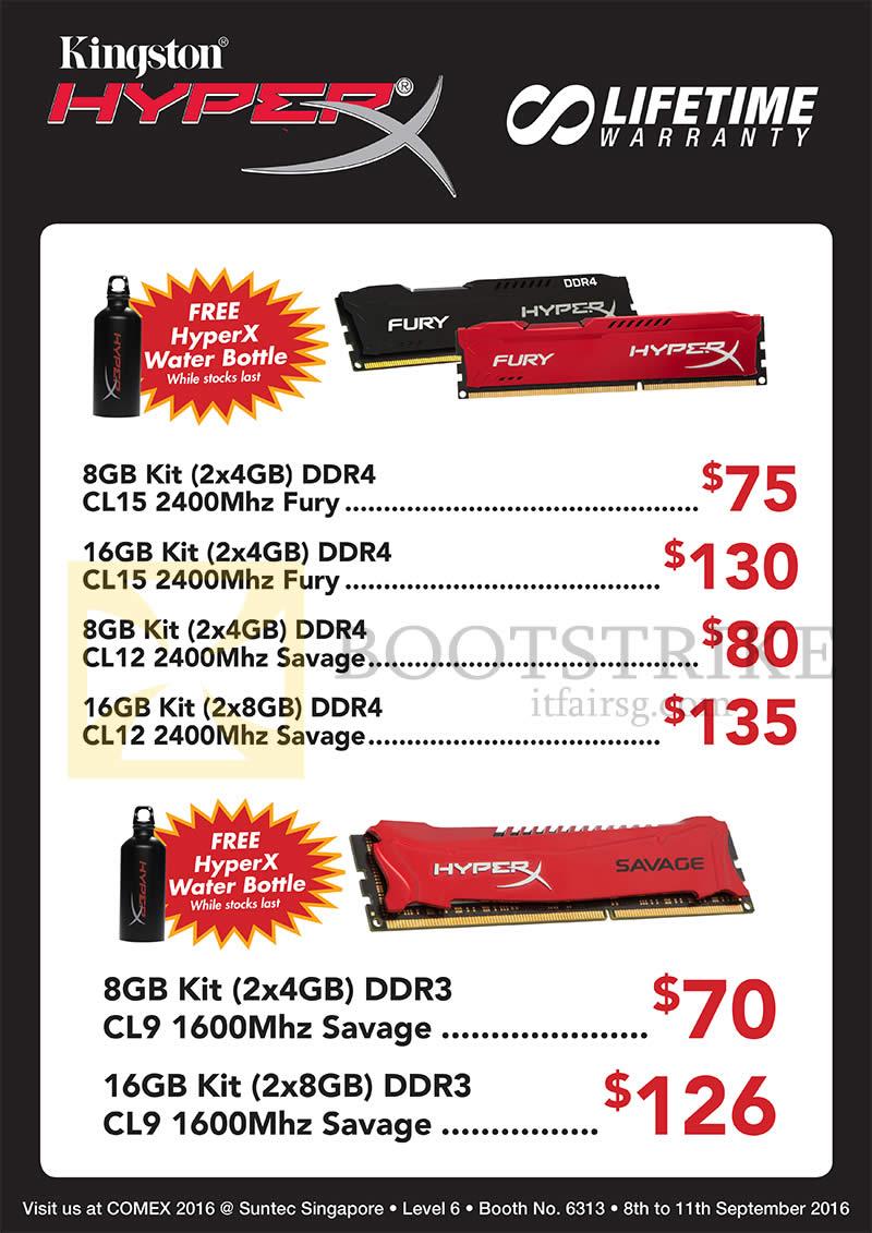 COMEX 2016 price list image brochure of Convergent HyperX RAM Memory, Fury, Savage, 8GB, 16GB