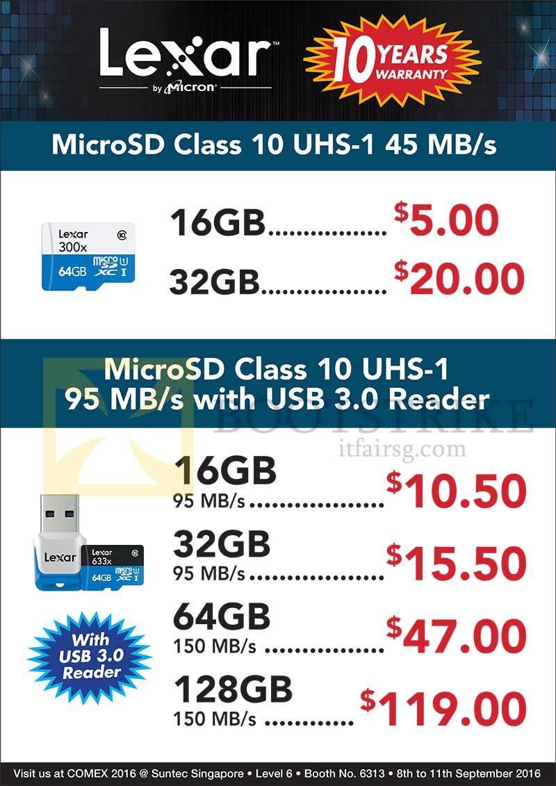 COMEX 2016 price list image brochure of Convergent Lexar MicroSD Class 10 UHS-1 16GB, 32GB, 64GB, 128GB
