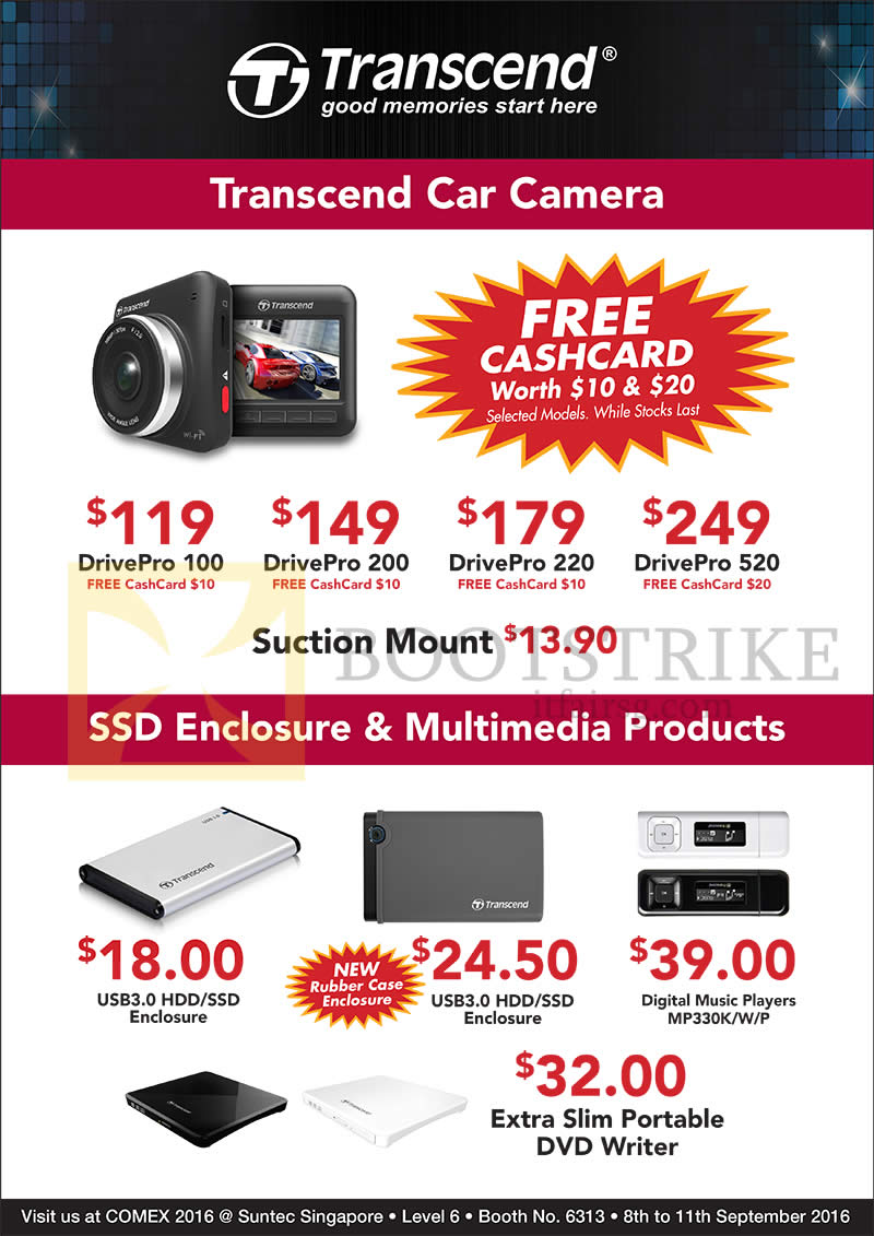 COMEX 2016 price list image brochure of Convergent Transcend Car Cameras, Enclosure, Multimedia Products, DrivePro 100, 200, 220, 520, Extra Slim Portable DVD Writer