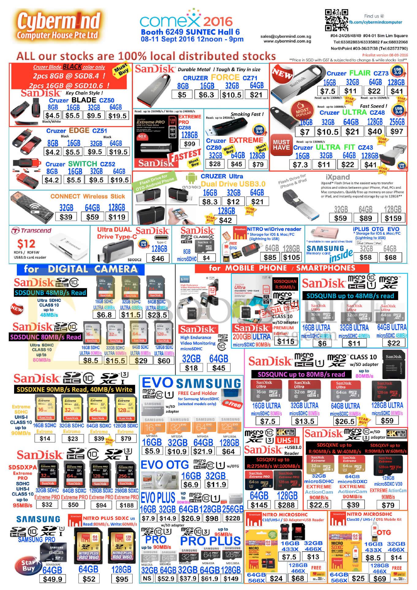 COMEX 2016 price list image brochure of Cybermind Accessories Thumb Drives, SD Cards, SanDisk, Transcend, Nitro MicroSDHC, IXPand, Samsung EVO