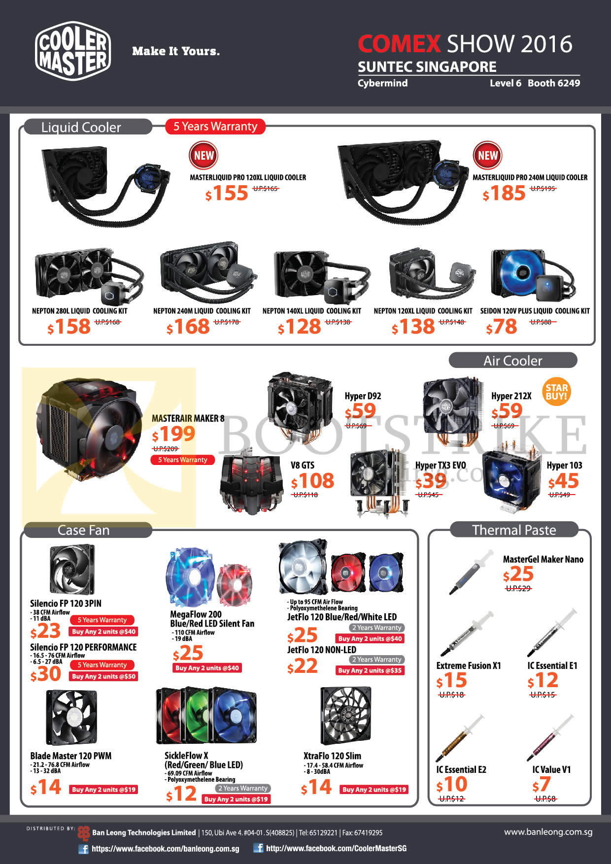 COMEX 2016 price list image brochure of Cybermind Cooler Master Accessories Liquid Coolers, Air Coolers, Case Fans, Thermal Pastes, Masterliquid 120XL, Nepton 280L, 240M, MasterAir, Hyper D92, V8 GTS, Hyper TX3 Evo