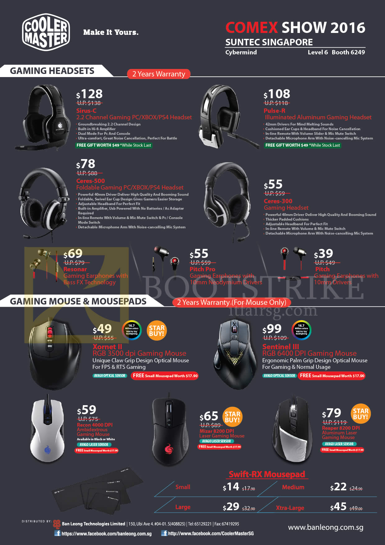 COMEX 2016 price list image brochure of Cybermind Cooler Master Gaming Headsets, Mouse, Mousepads, Sirus-C, Pulse-R, Ceres-500 300, Resonar, Pitch Pro, Pitch, Xornet II, Sentinel III, Recon 4000, Mizar 8200 DPI, Reaper 8200 DPI