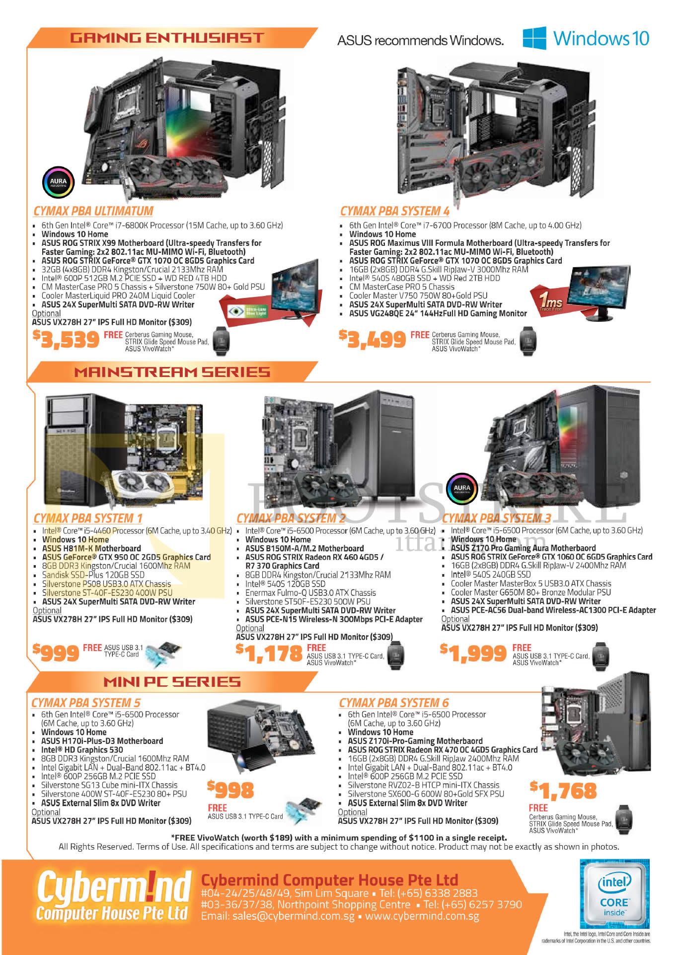 COMEX 2016 price list image brochure of Cybermind Desktop PCs Cymax PBA Ultimatum, PBA System 4, 1, 2, 3, 5, 6