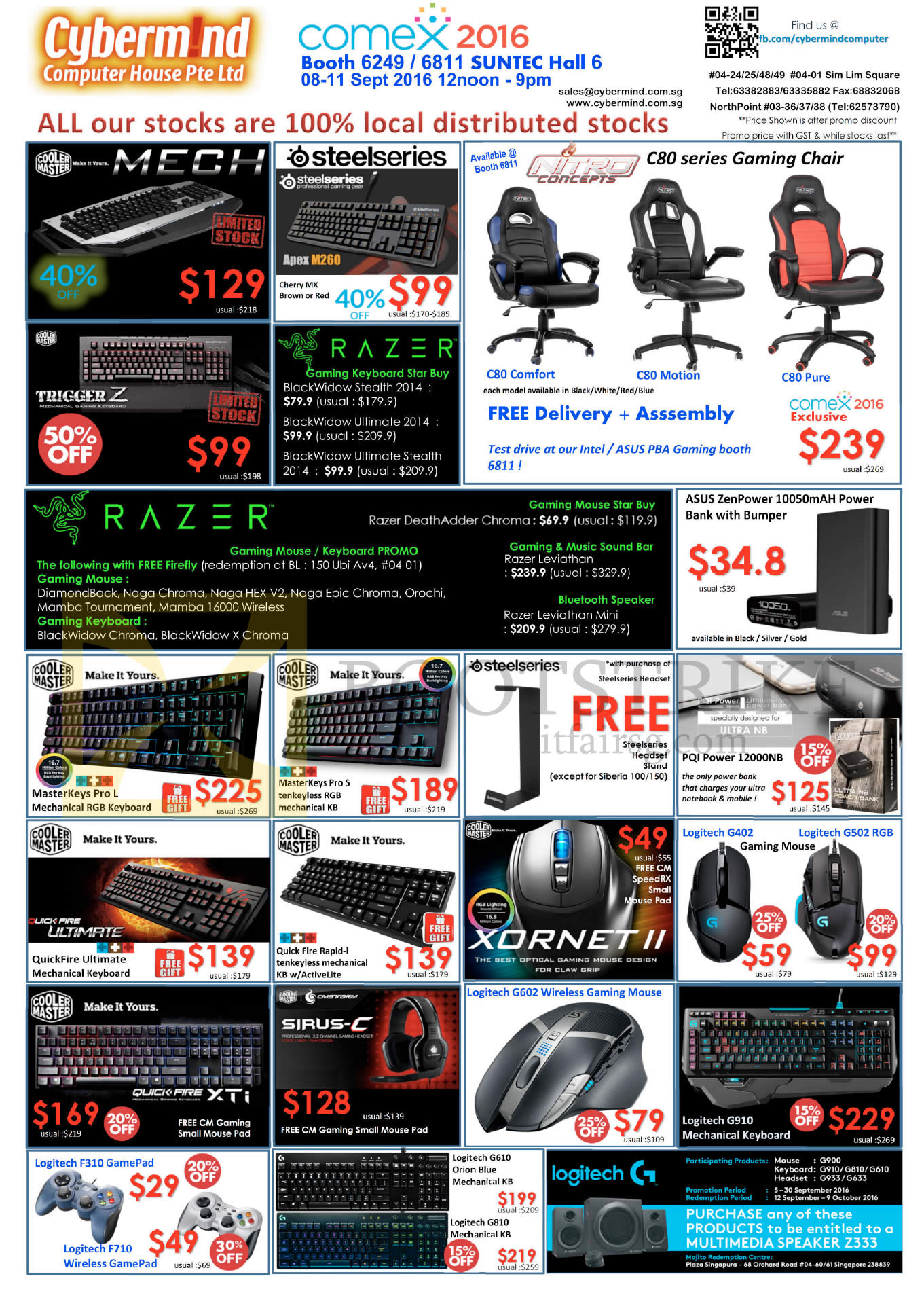 COMEX 2016 price list image brochure of Cybermind Keyboards, Gaming Chairs, Mouse, Headsets, GamePad, Speaker, Razer, Cooler Master, Steelseries