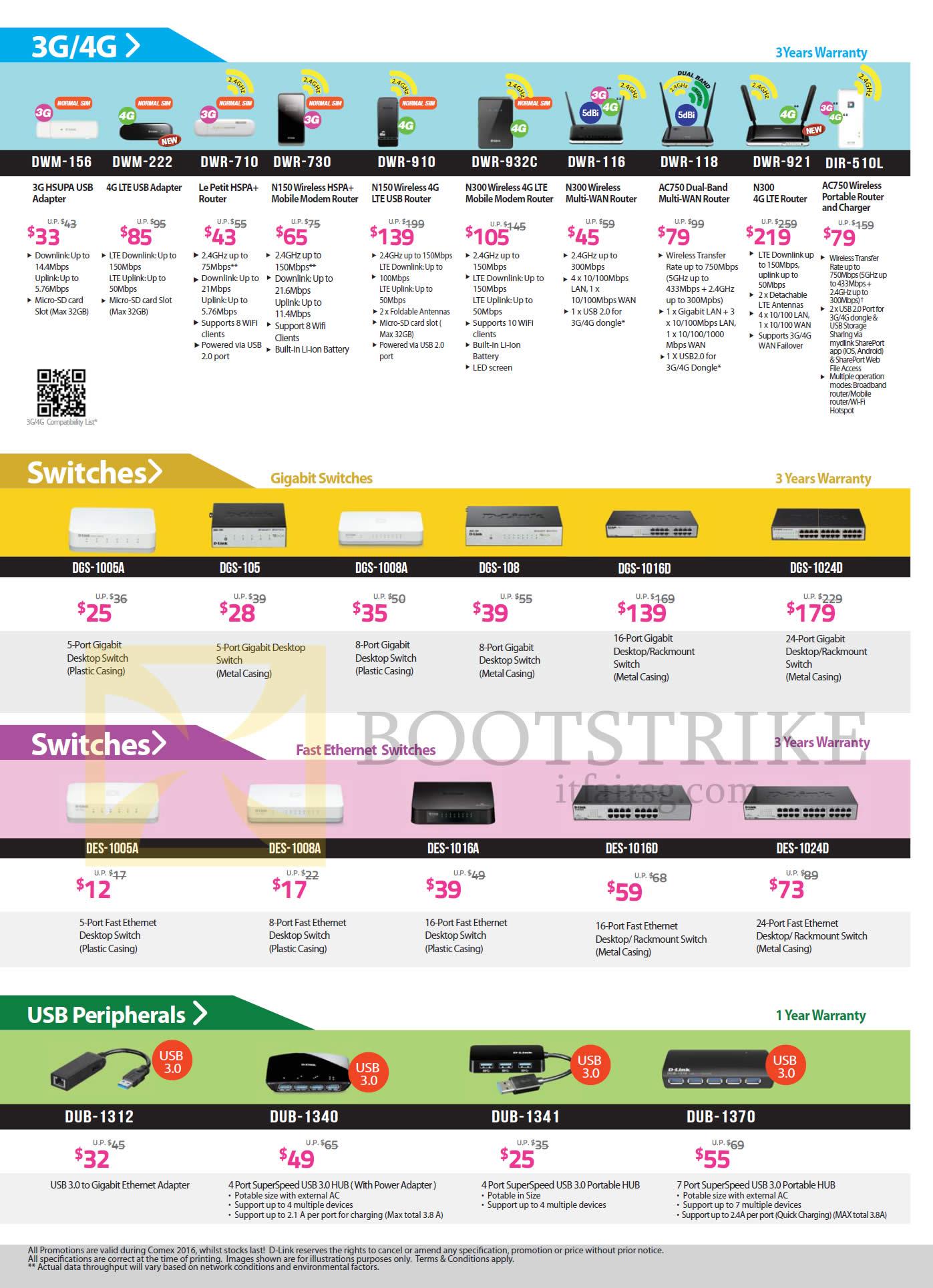 COMEX 2016 price list image brochure of D-Link Networking 3G, 4G, Switches, USB, DWM-156, 222, DWR-710, 730, 910, 932C, 116, 118, 921, DGS-1005A, 105, 1008A, 108, 1016D, 1024D, DES-1005A, 1008A, DUB-1312