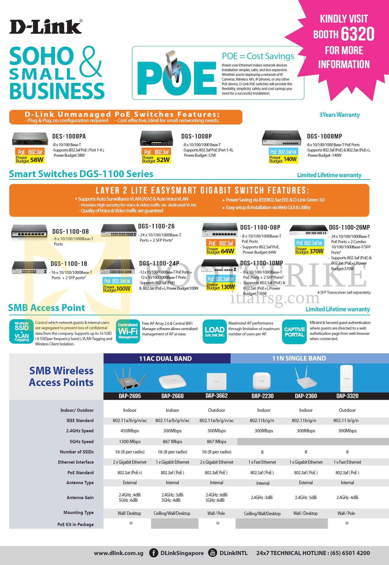 COMEX 2016 price list image brochure of D-Link Networking Business Switches, Access Points, DES-1008PA, DGS-1008P, 1008MP, 1100-08, 26, 08P, 26MP, 18, 24P, 10MP, DAP-2695, 2660, 3662, 2230, 2360, 3320