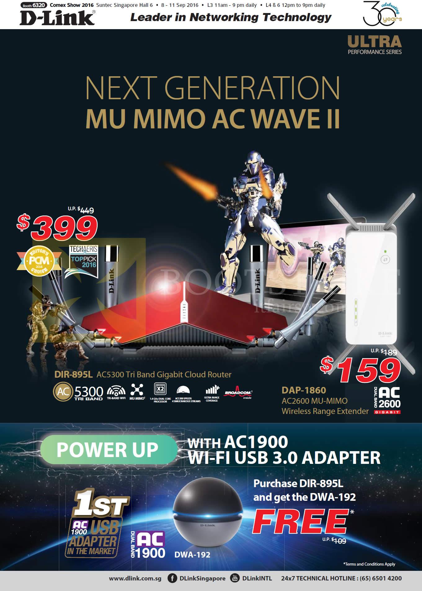 COMEX 2016 price list image brochure of D-Link Networking DIR-895L Router, DAP-1860