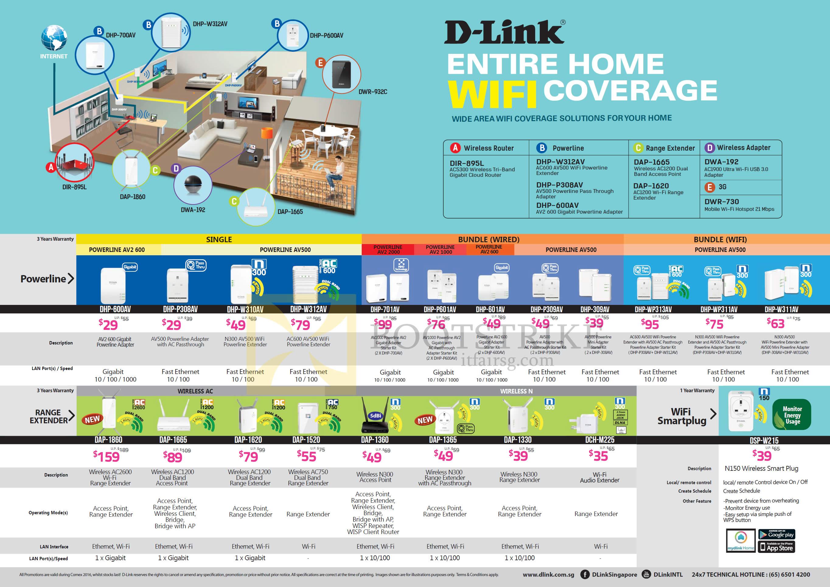 COMEX 2016 price list image brochure of D-Link Networking Powerline, Range Extenders, DHP-600AV, P308AV, W310AV, W312AV, 701AV, P601AV, 601AV, P309AV, WP313AV, WP311AV, DSP-W215, DCH-M225, DAP-1330, 1365
