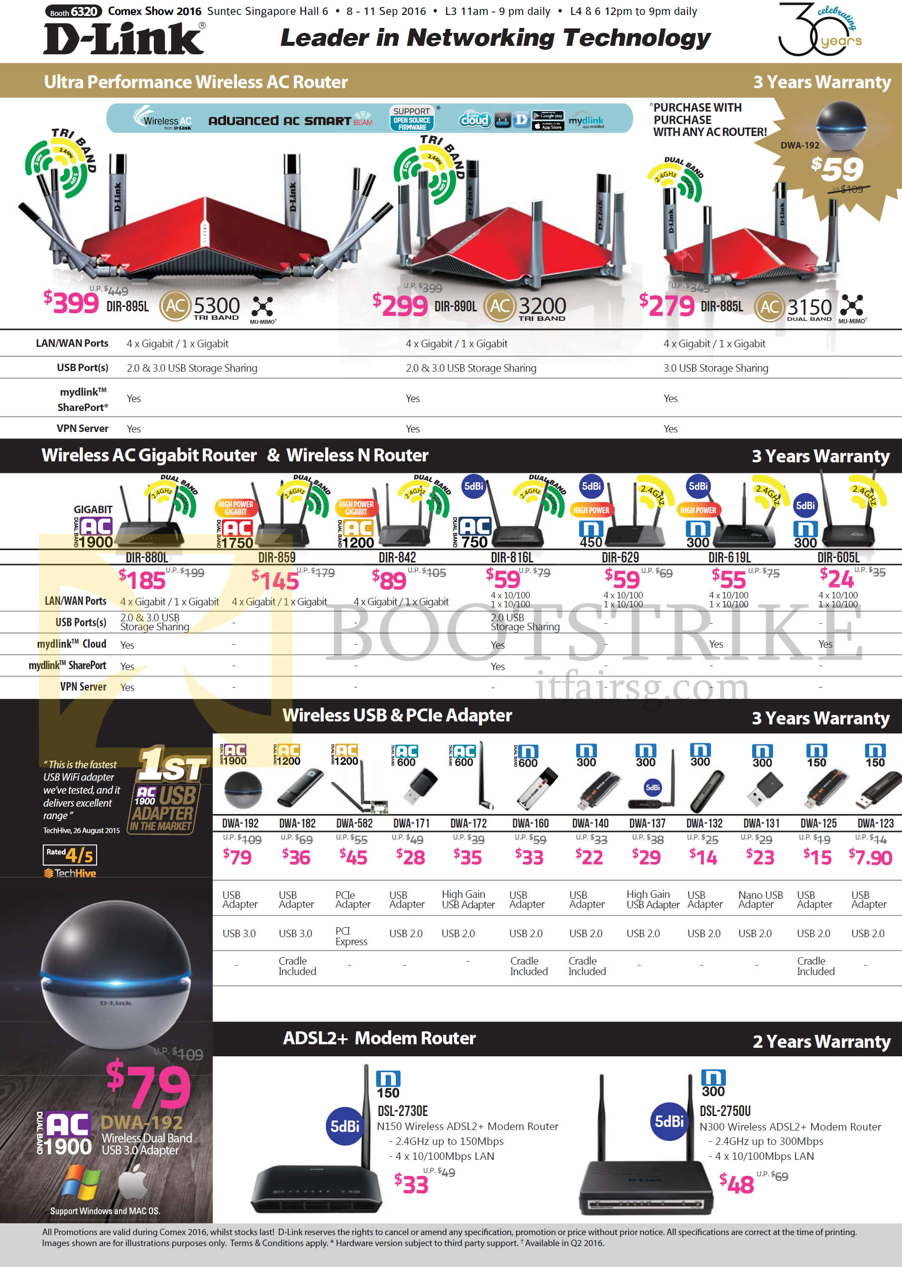 COMEX 2016 price list image brochure of D-Link Networking Wireless Routers, USB PCIe Adapters, DIR-895L, 890L, 885L, 880L, 859, 816L, 619L, 605L, DWA-192, 182, 582, 171, 160, 140, DSL-2730E, 2750E
