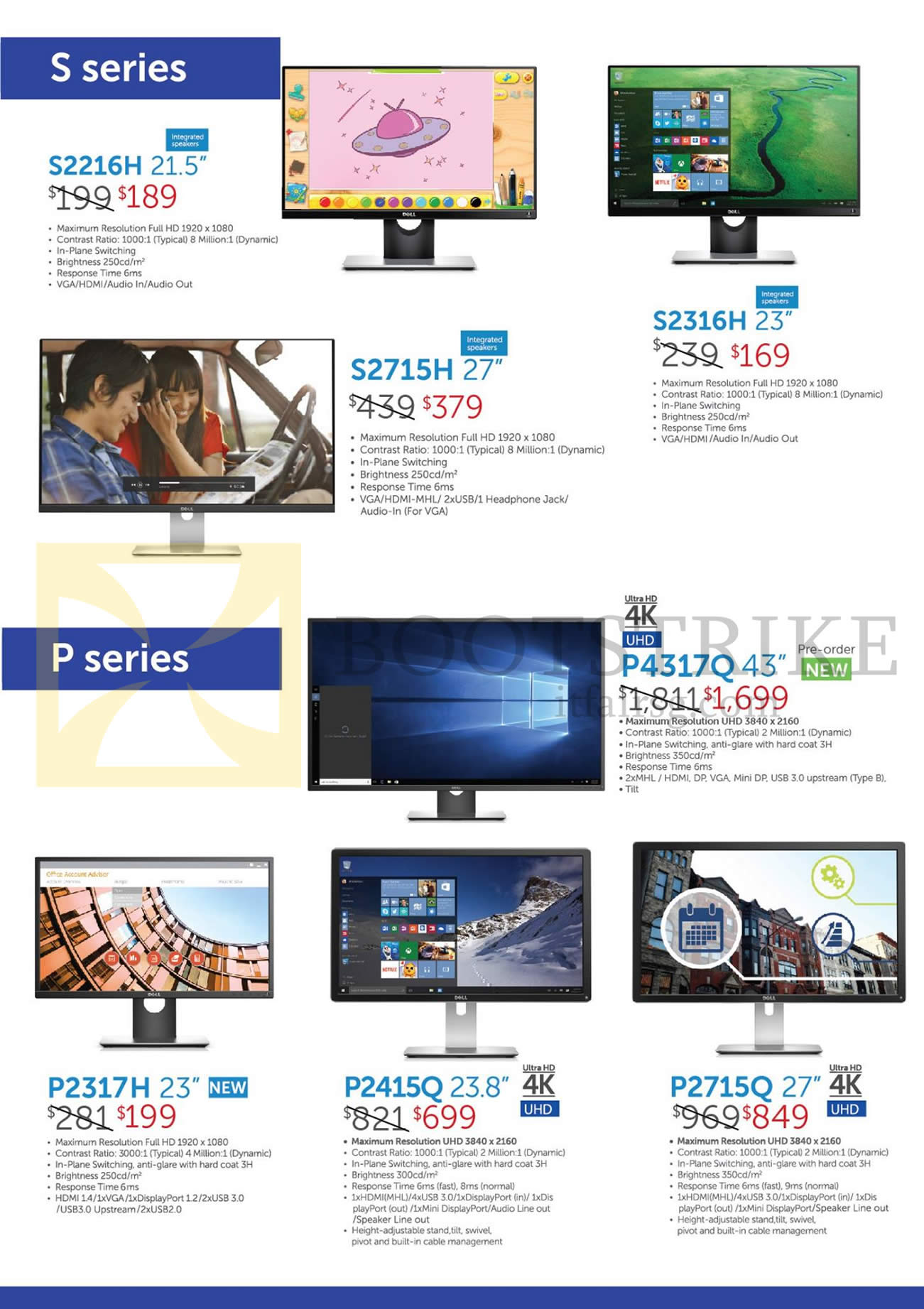 COMEX 2016 price list image brochure of Dell Monitors UHD S2216H, S2715H, S2316H, P4317Q, P2317H, P2415Q, P2715Q