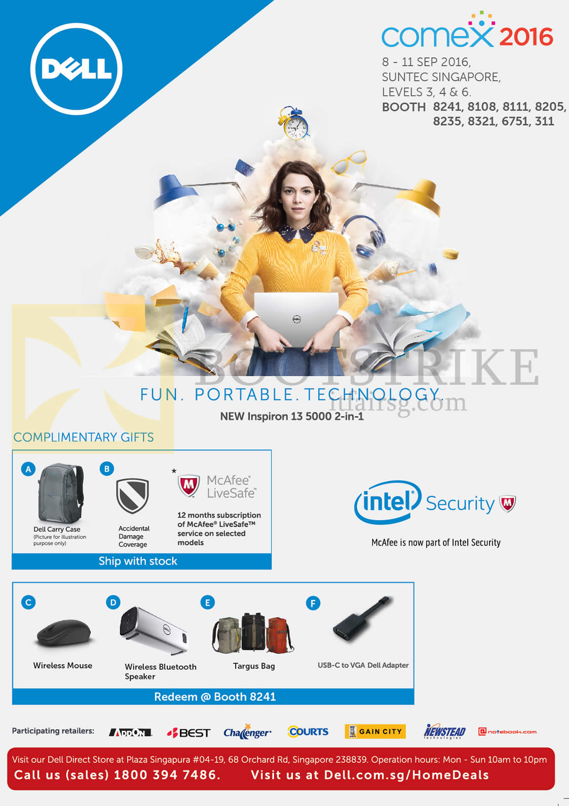 COMEX 2016 price list image brochure of Dell Notebook Inspiron 13 5000, Free Gifts