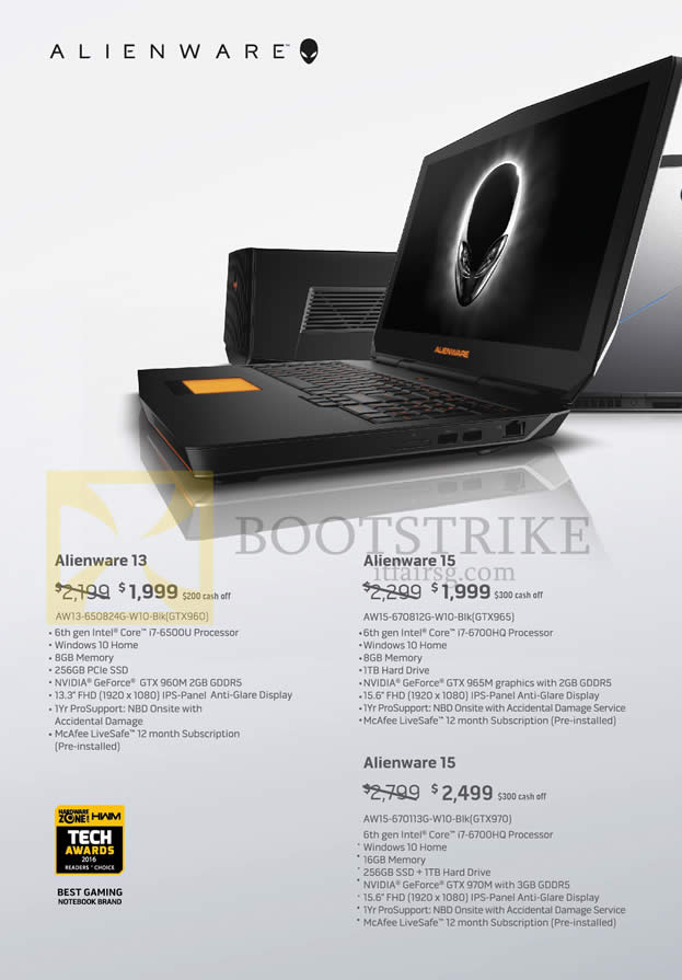 COMEX 2016 price list image brochure of Dell Notebooks Alienware 13, 15 Series