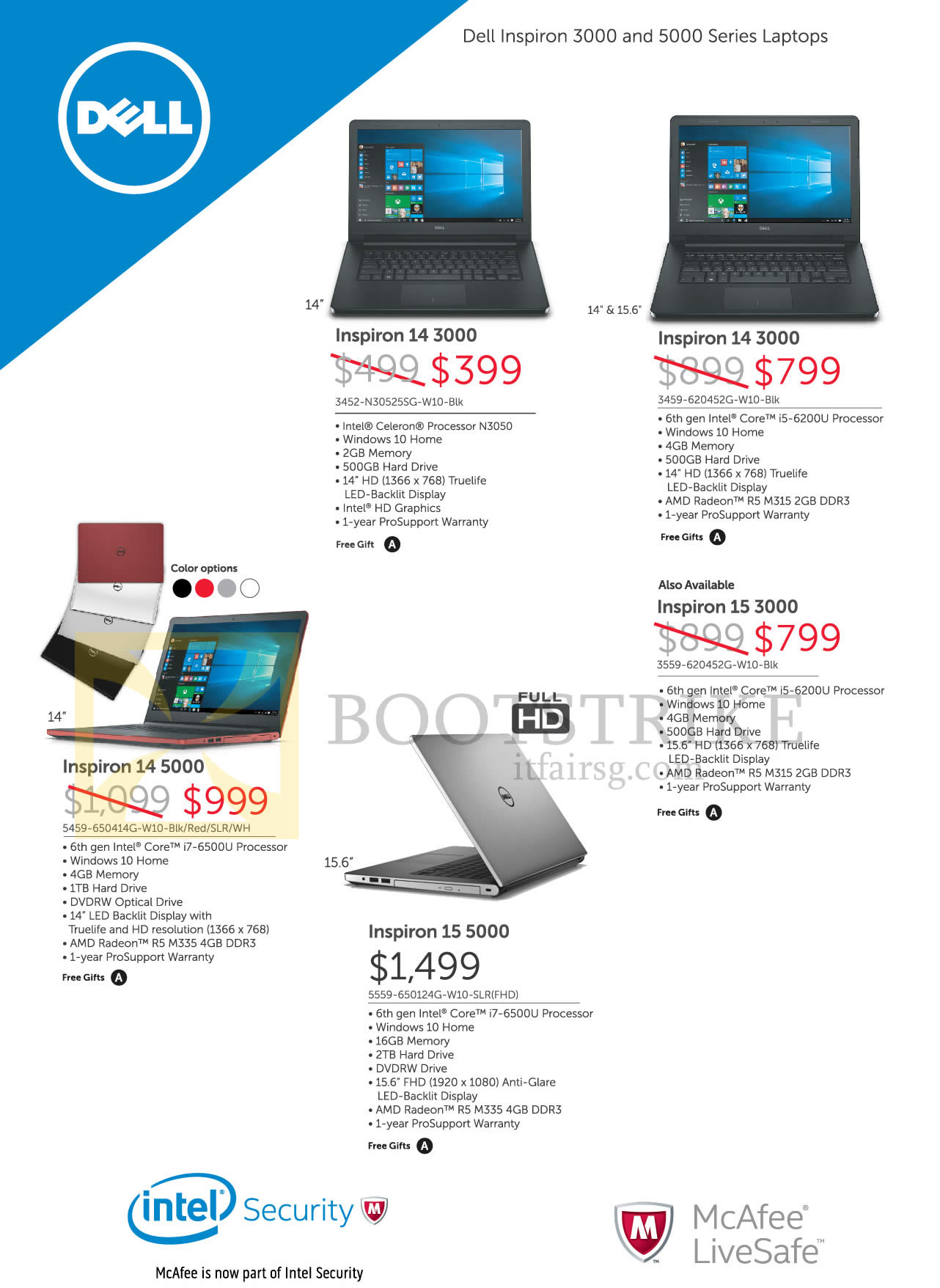 COMEX 2016 price list image brochure of Dell Notebooks Inspiron 14 3000, 14 5000, 15 3000, 15 5000 Series