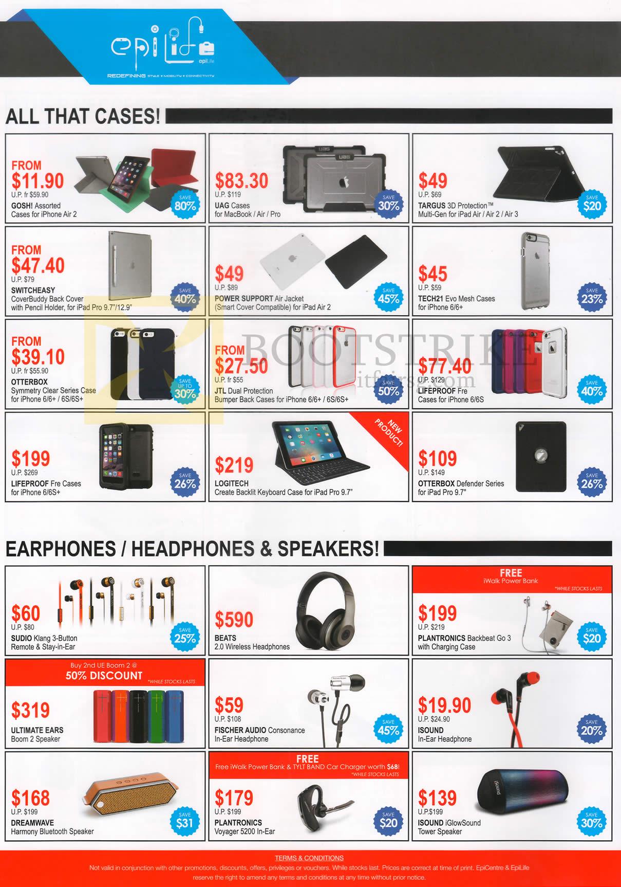 COMEX 2016 price list image brochure of EpiCentre Cases, Earphones, Headphones, Speakers, Gosh, UAG, Targus, Tech21, Otterbox, Lifeproof, JTL, Logitech, Studio, Beats, Plantronics, ISound
