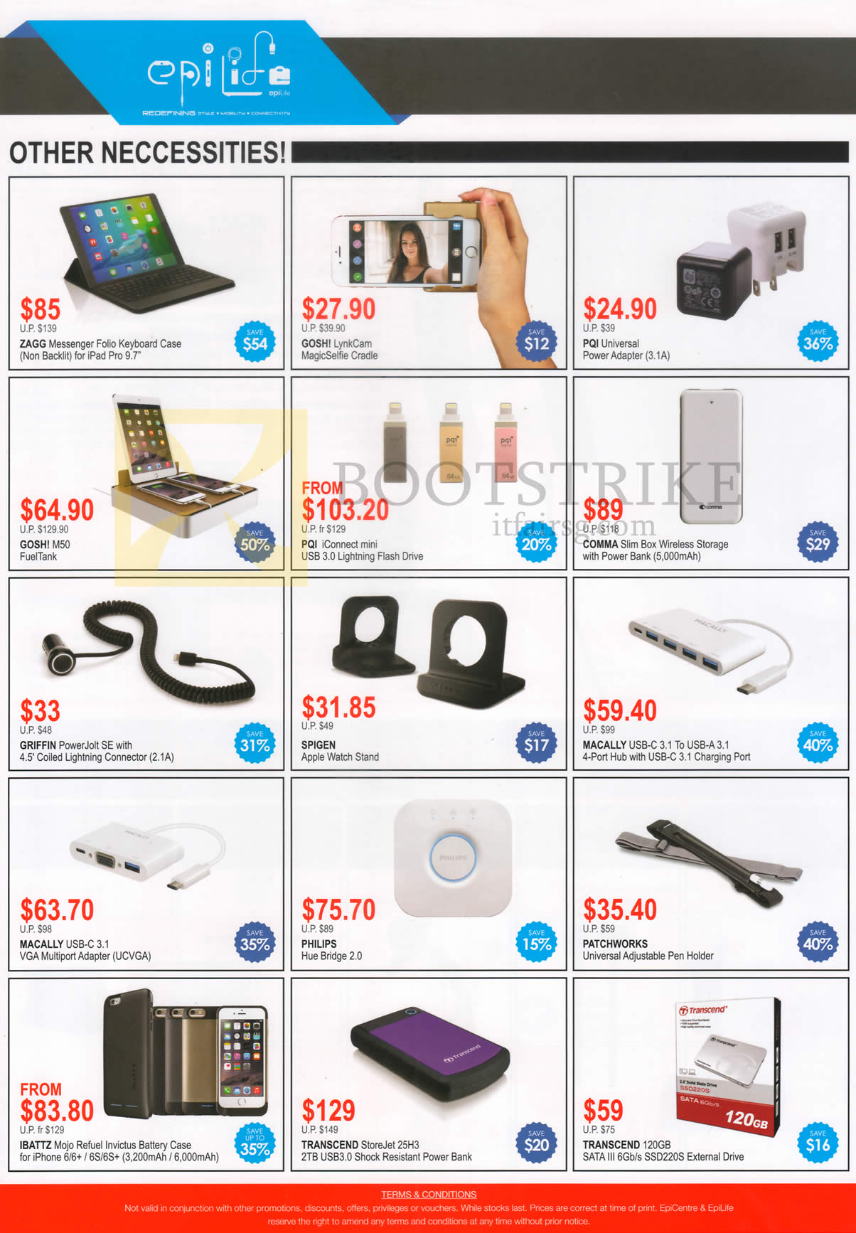 COMEX 2016 price list image brochure of EpiCentre Epilife Accessories Cases, Power Adapters, Storages, Lightning Flassh Drives, Watch Stand, Charging Port, Hub Bridge, Pen Holder, Battery Case, PowerBank