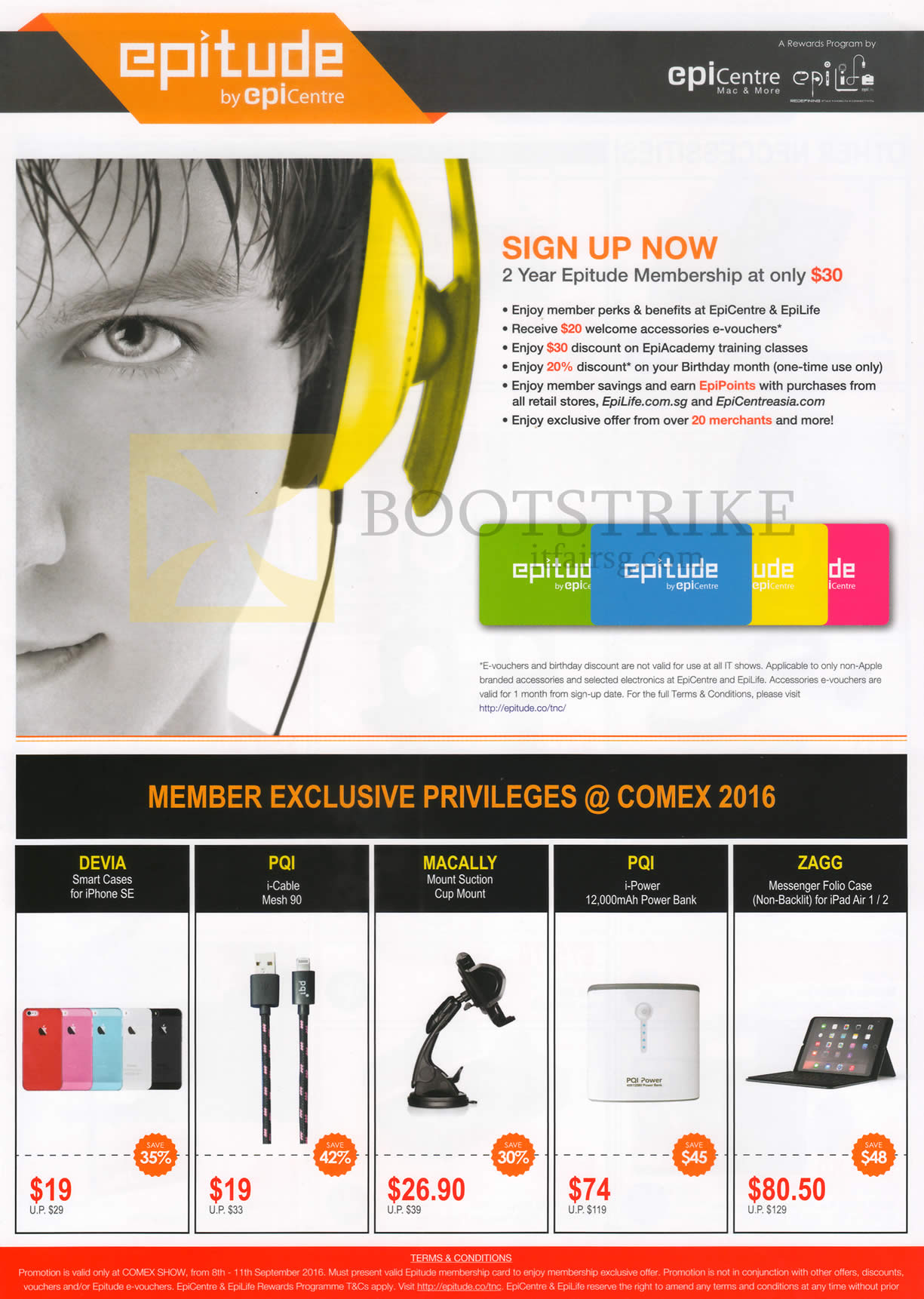 COMEX 2016 price list image brochure of EpiCentre Epitude Membership, Case, Cable, Power Bank, Folio Case