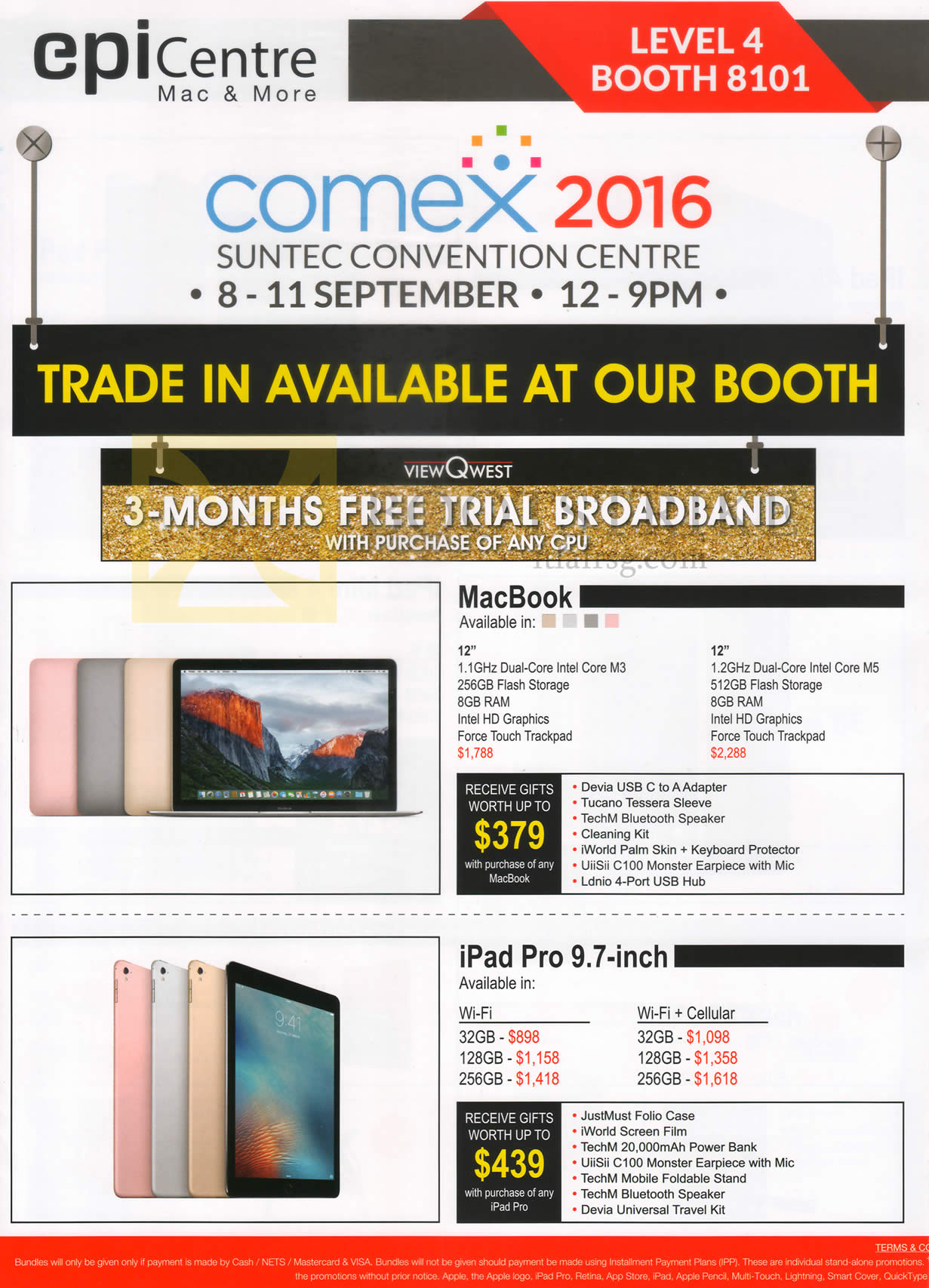 COMEX 2016 price list image brochure of EpiCentre Notebook, Tablet, Apple MacBook, IPad Pro 9