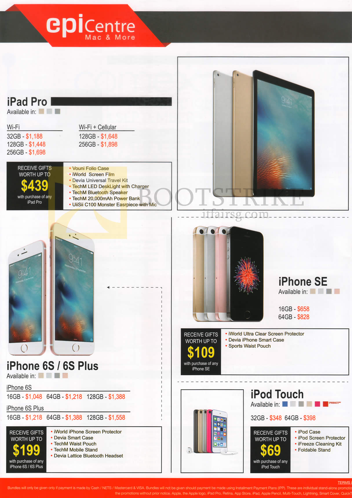 COMEX 2016 price list image brochure of EpiCentre Tablets, Mobile Phones Apple IPad Pro, IPhone SE, IPhone 6s, 6s Plus, IPod Touch
