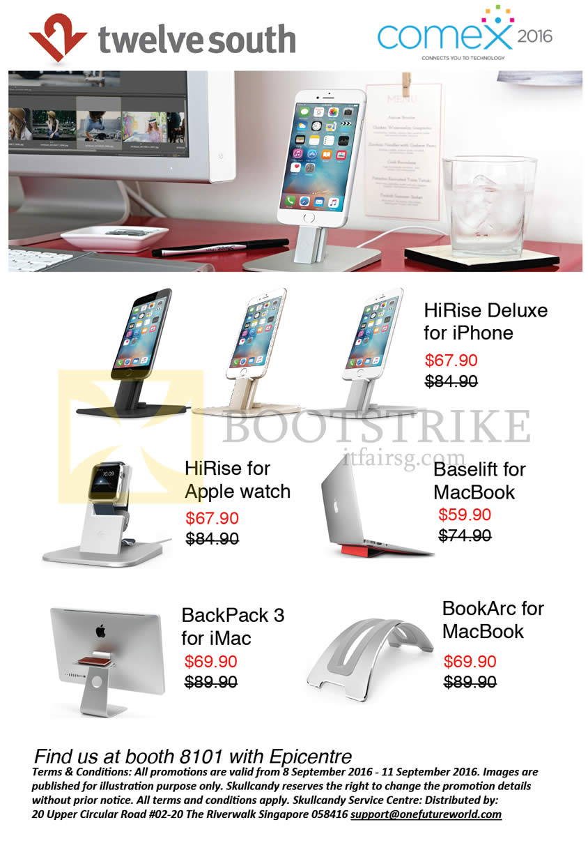 COMEX 2016 price list image brochure of Epicentre 12South Apple Accessories, HiRise, BackPack, BookArc, Baselift