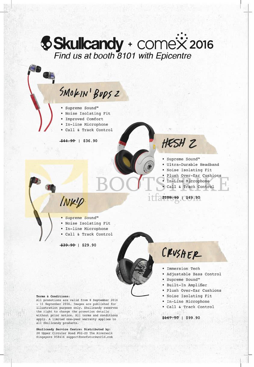 COMEX 2016 price list image brochure of Epicentre Skullcandy Headphones Earphones Smokin Buds2, Hesh 2, Inkd, Crusher