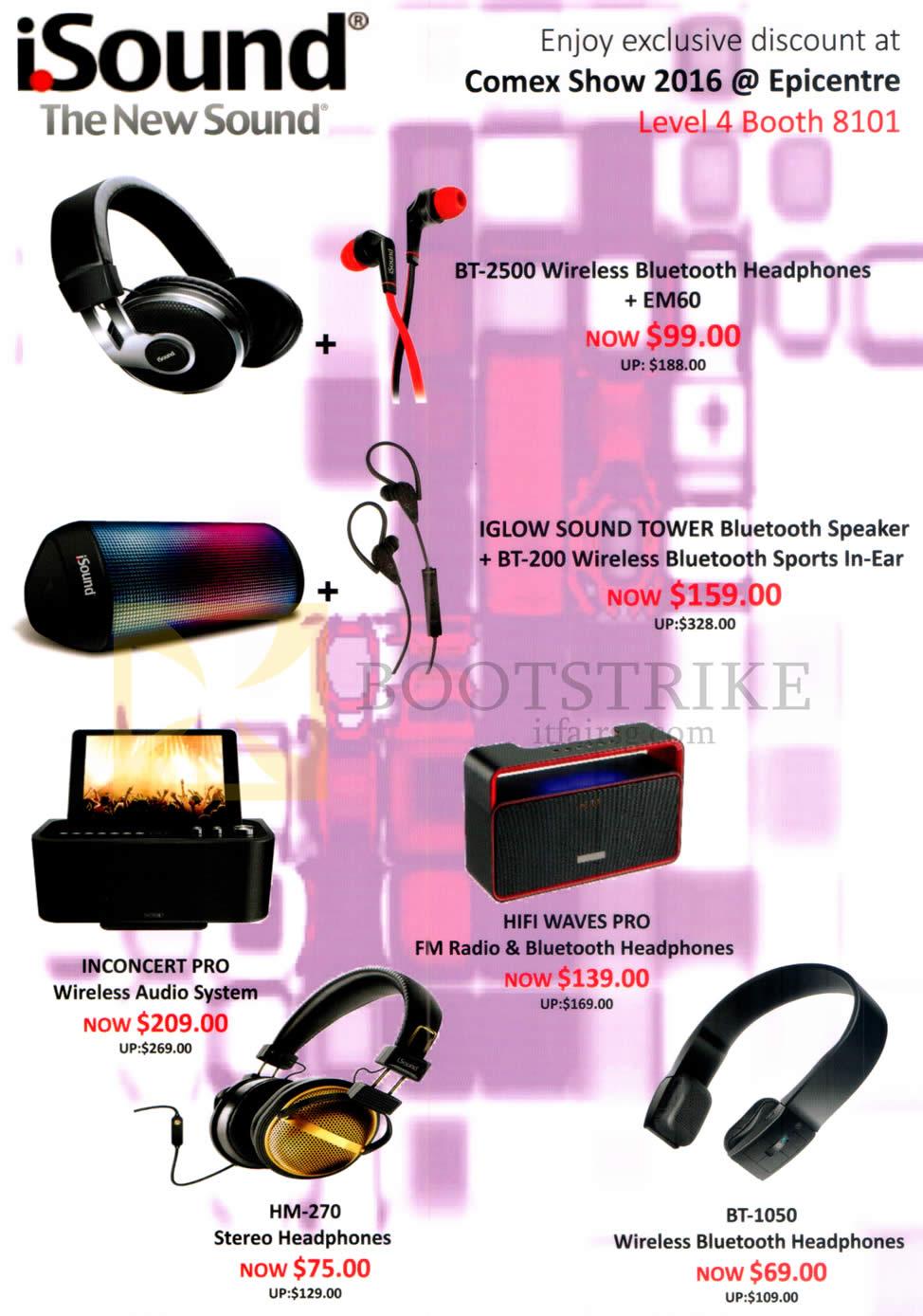 COMEX 2016 price list image brochure of Epicentre ISound Headphones, Speakers, Audio System, FM Radio, BT-2500, Iglow Sound Tower, BT-200, Inconcert Pro, Hifi Waves Pro, HM-270, BT-1050