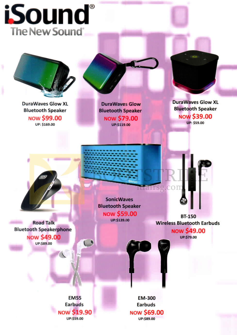 COMEX 2016 price list image brochure of Epicentre ISound Speaker, Earbuds, Durawaves Glow XL, Glow, Road Talk, SonicWaves, BT-150, EM55, EM-300
