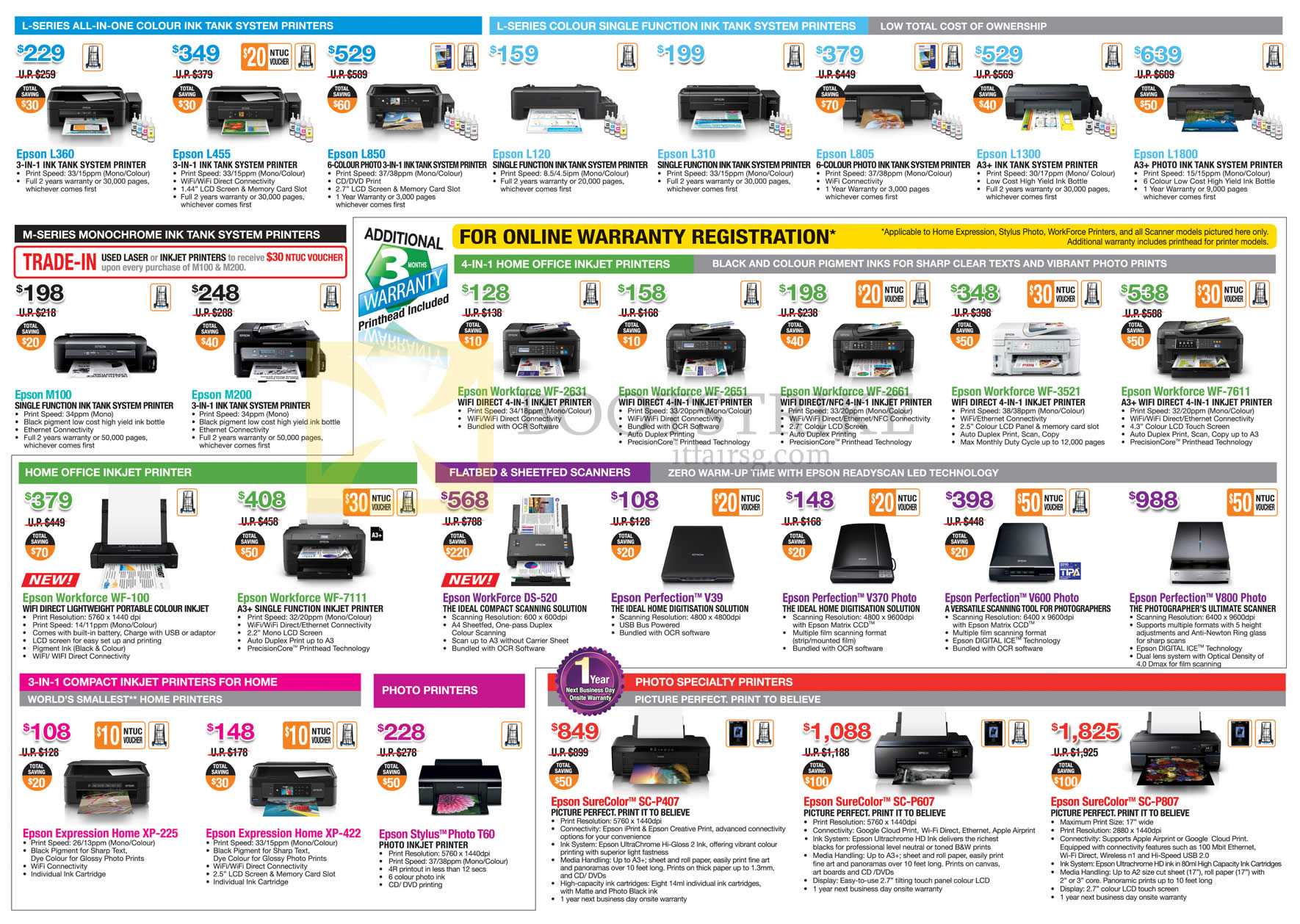 COMEX 2016 price list image brochure of Epson Printers, Scanners, L Series, 4 In 1 Home Office, Home Office, Photo Specialty, 3 In 1 Compact