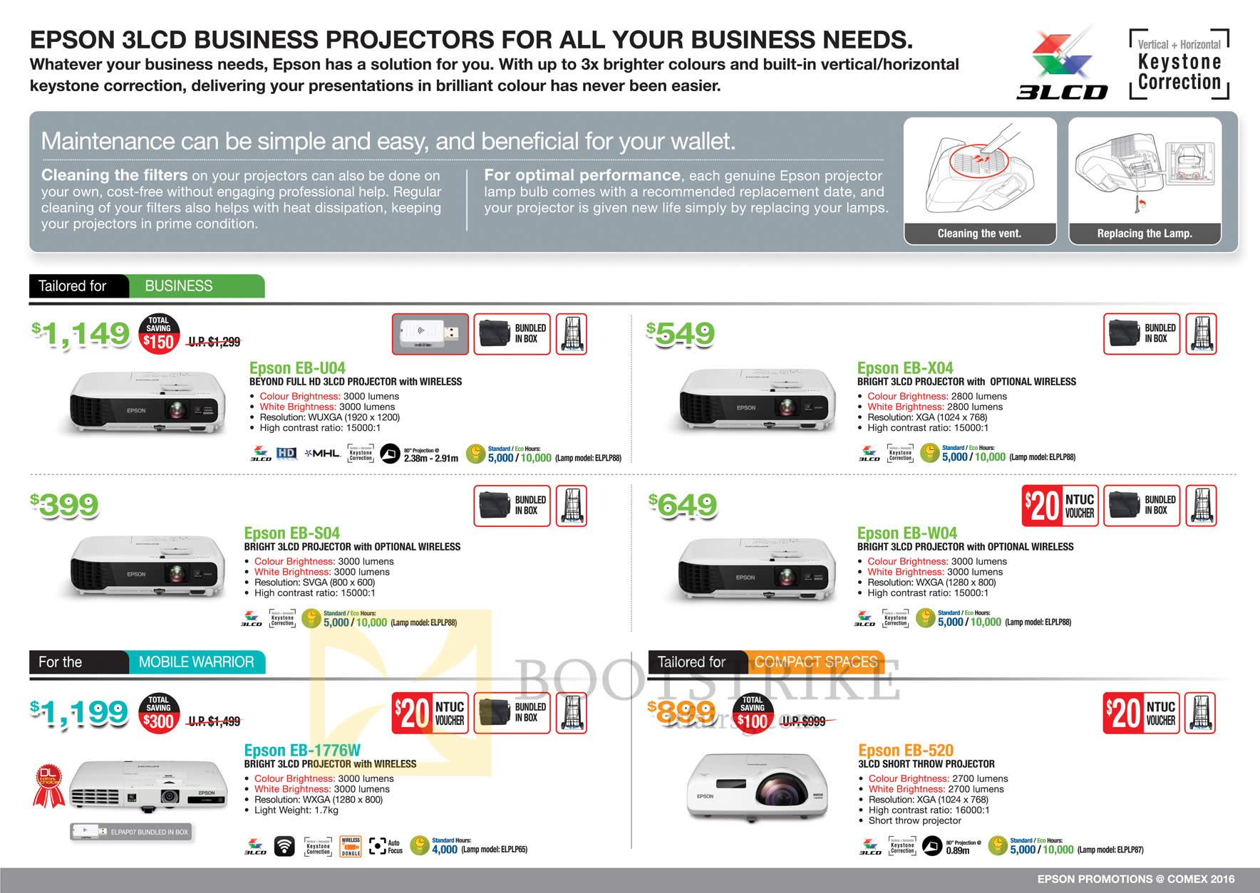 COMEX 2016 price list image brochure of Epson Projectors EB-U04, X04, S04, W04, 1776W, 520