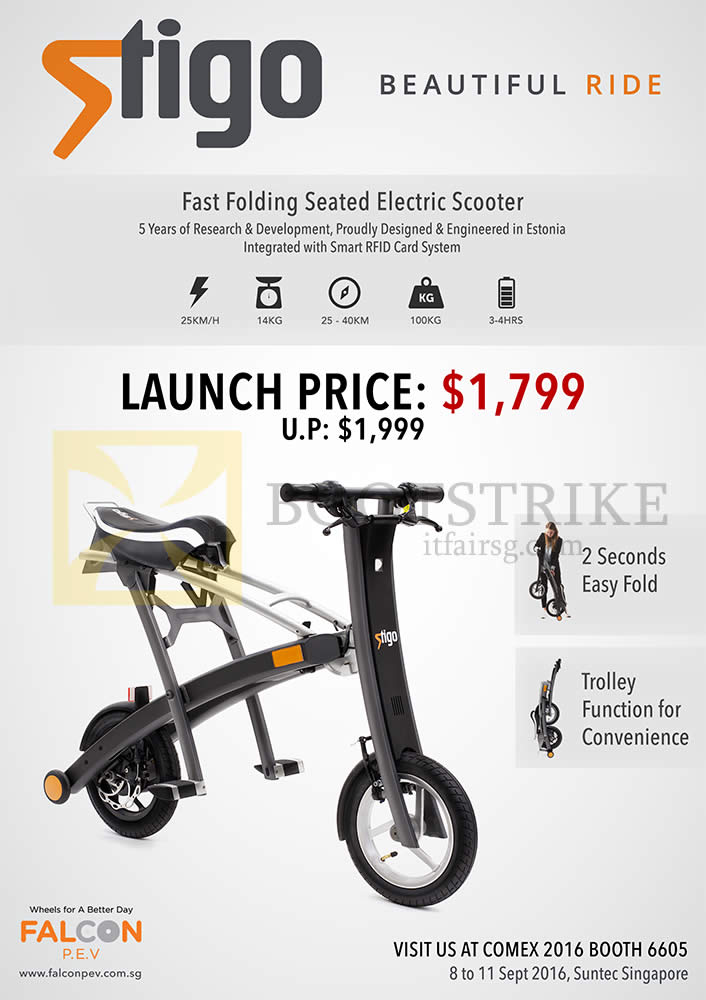 COMEX 2016 price list image brochure of Falcon Stigo Electric Scooter
