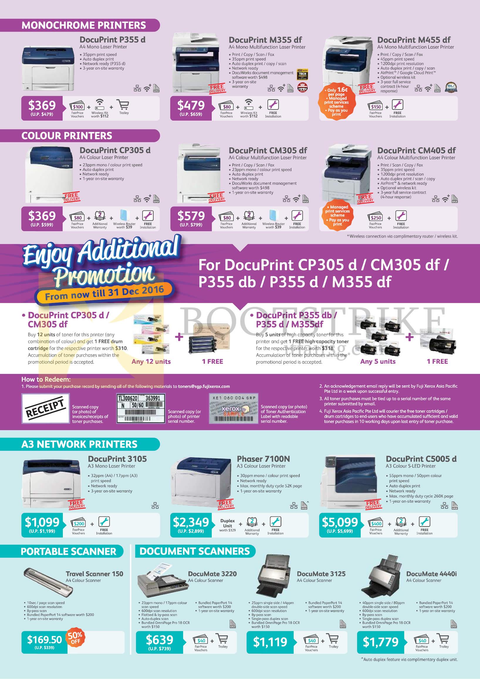 Fuji Xerox Printers Laser, Scanners, DocuPrint P355d, M355df, M455df