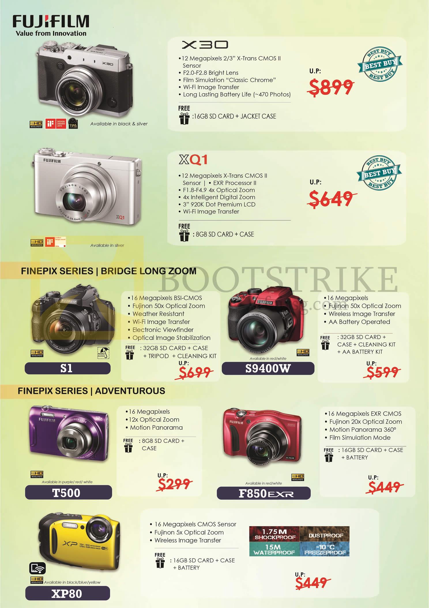 COMEX 2016 price list image brochure of Fujifilm (No Prices) Digital Cameras Finepix X30, XQ1, S1, S9400W, T500, F850EXR, XP80