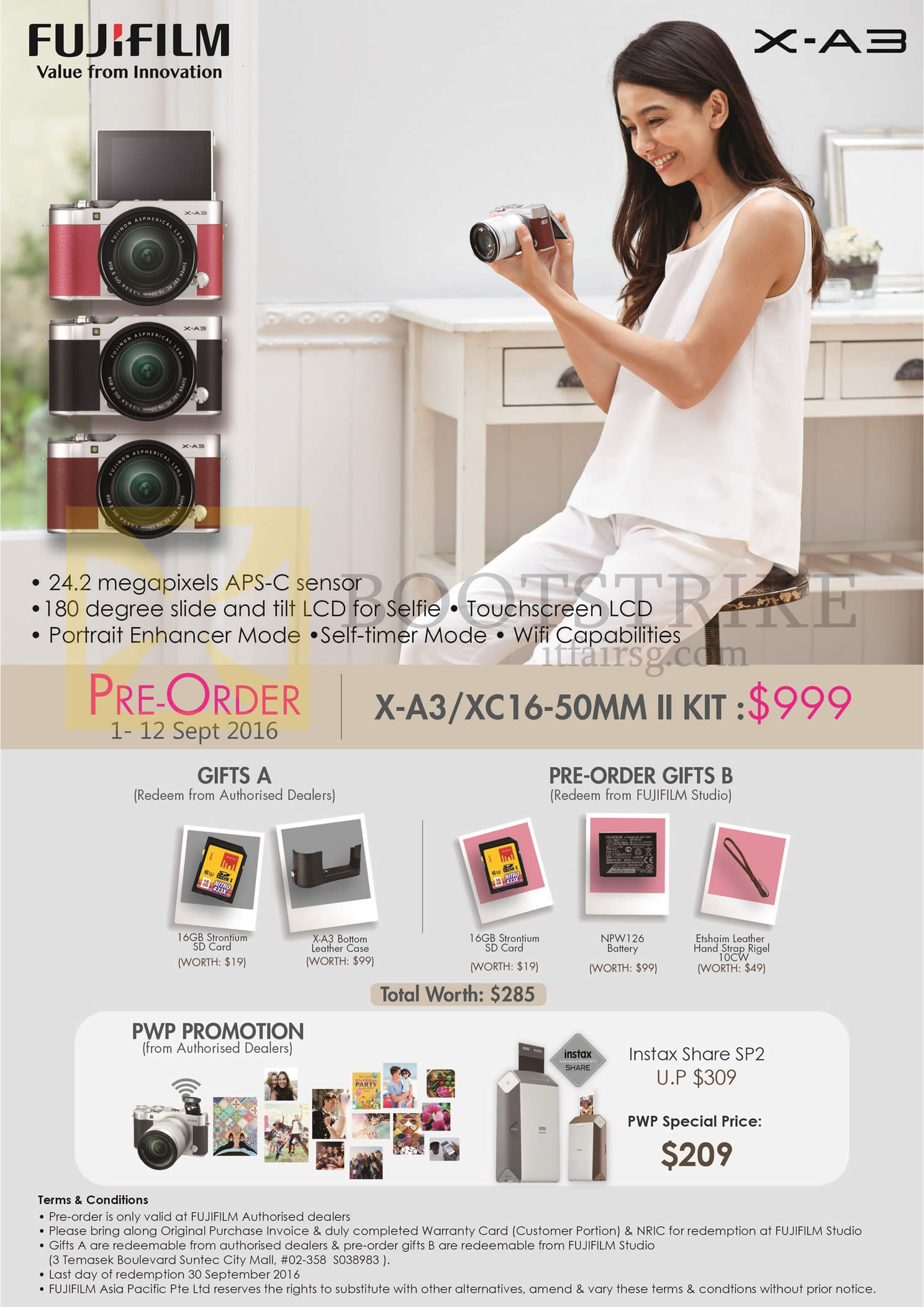 COMEX 2016 price list image brochure of Fujifilm Digital Camera X-A3 XC-16 50mm