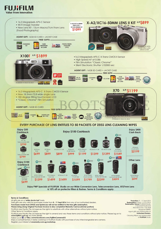 COMEX 2016 price list image brochure of Fujifilm Digital Cameras X-A2, X100T, X70, Lenses
