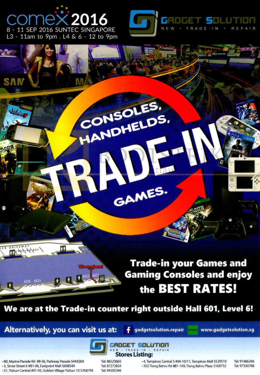 COMEX 2016 price list image brochure of Gadget Solution Trade-In, Gaming Consoles, Games, Handheld