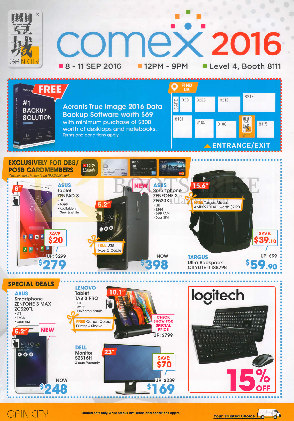 COMEX 2016 price list image brochure of Gain City Accessories Asus Zenpad 8, 3, 3 Max, Tab 3 Pro, Targus Backpack, Dell Monitor S2316H