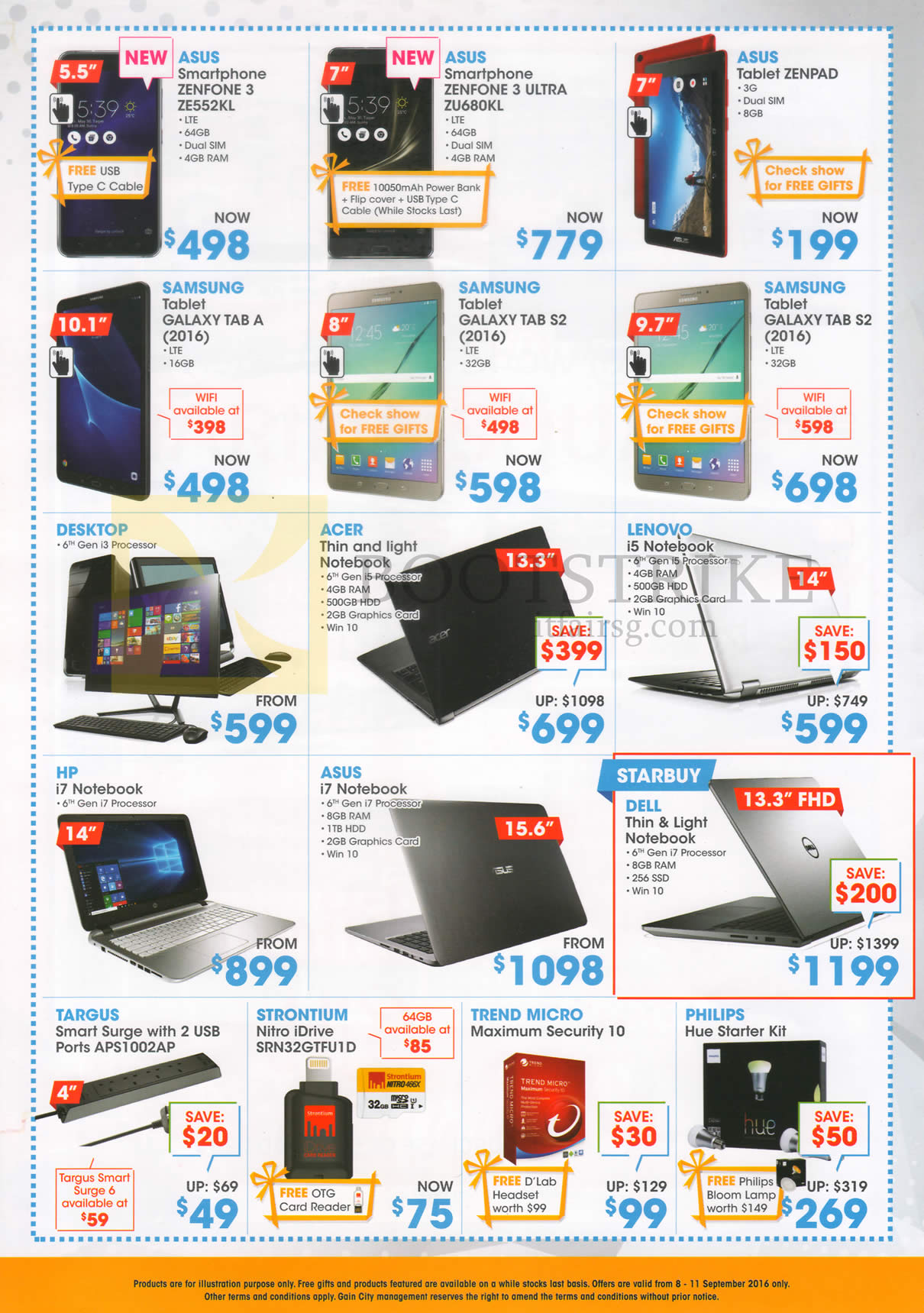 COMEX 2016 price list image brochure of Gain City Notebooks, Desktop PC, ASUS Zenfone, Samsing, Acer, HP, Lenovo, Dell, Targus, Strontium, Trend Micro