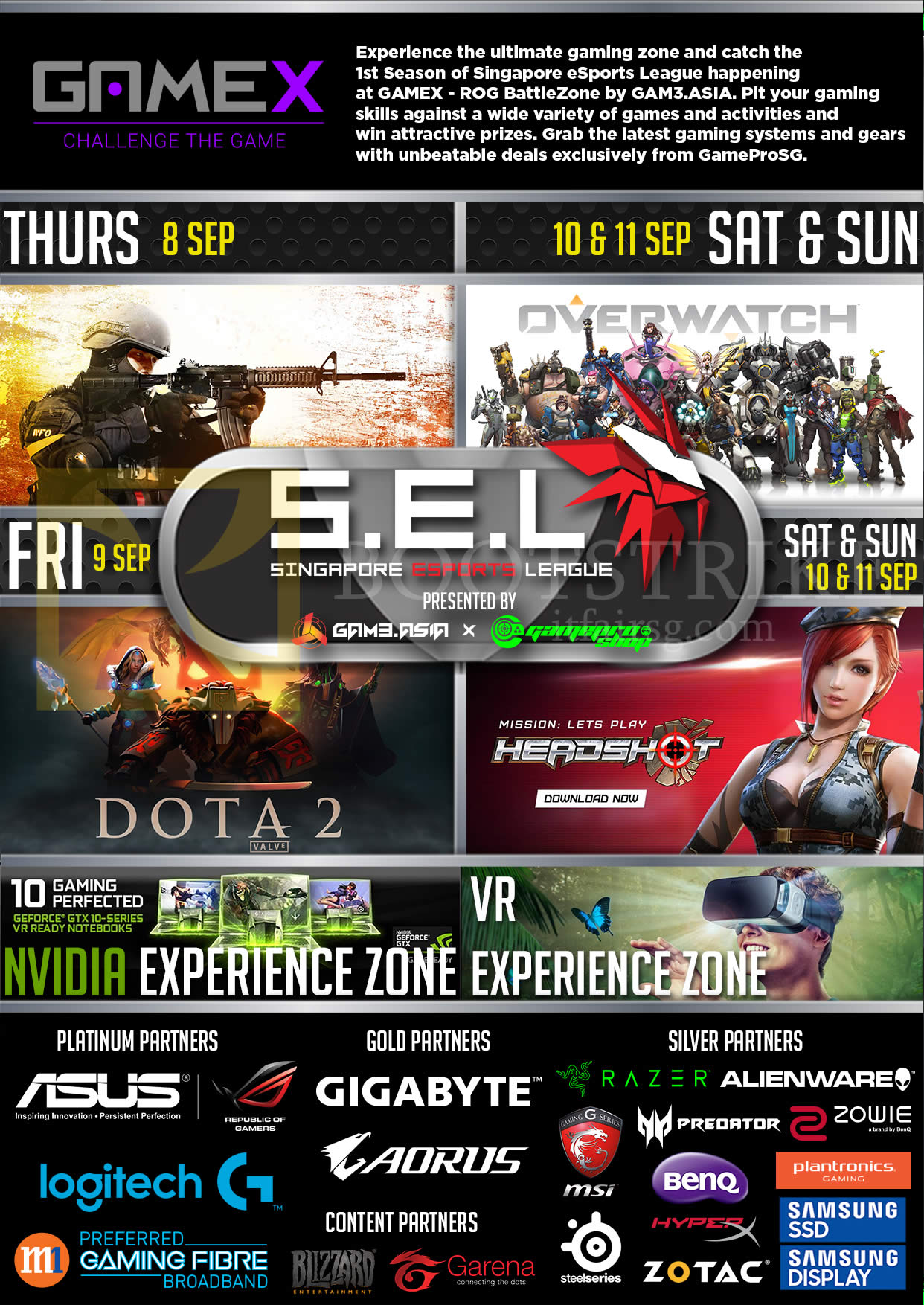 COMEX 2016 price list image brochure of GamePro Gaming Zone, ESports League, Games, Partners