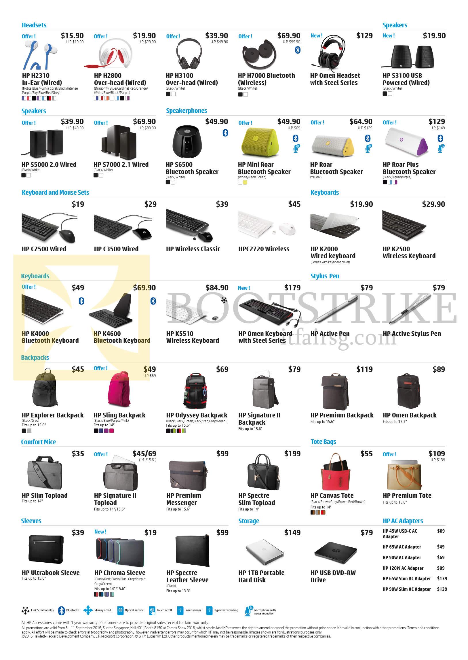 COMEX 2016 price list image brochure of HP Accessories Headsets, Speakers, Speakerphones, Keyboard, Mouse Sets, Stylus Pen, Backpacks, Sleeves, Storage, AC Adapters
