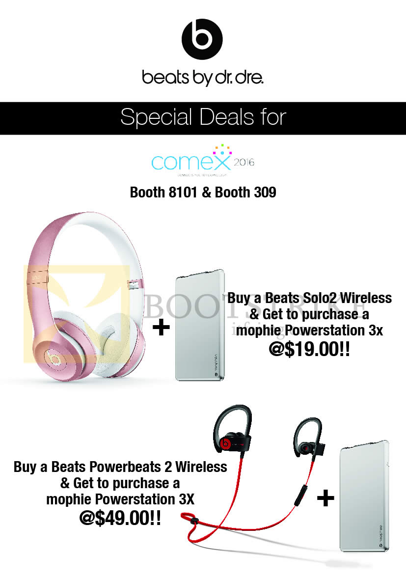 COMEX 2016 price list image brochure of HP Beats By Dr Dre Beats Solo2, Beats Powerbeats 2 Wireless