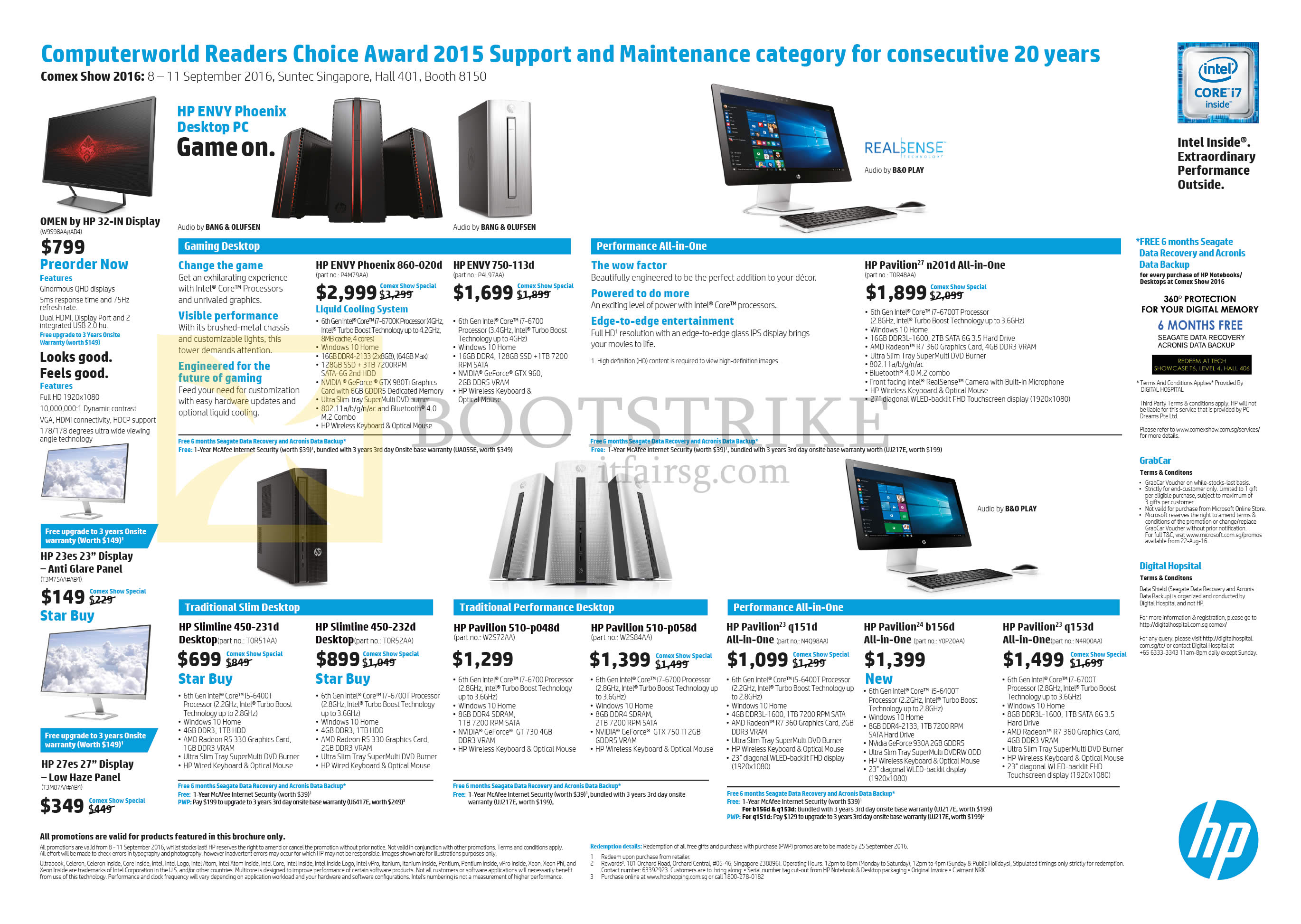 COMEX 2016 price list image brochure of HP Desktop PCs, Monitors, Envy, Envy Phoenix, Pavilion, Slimline, Omen