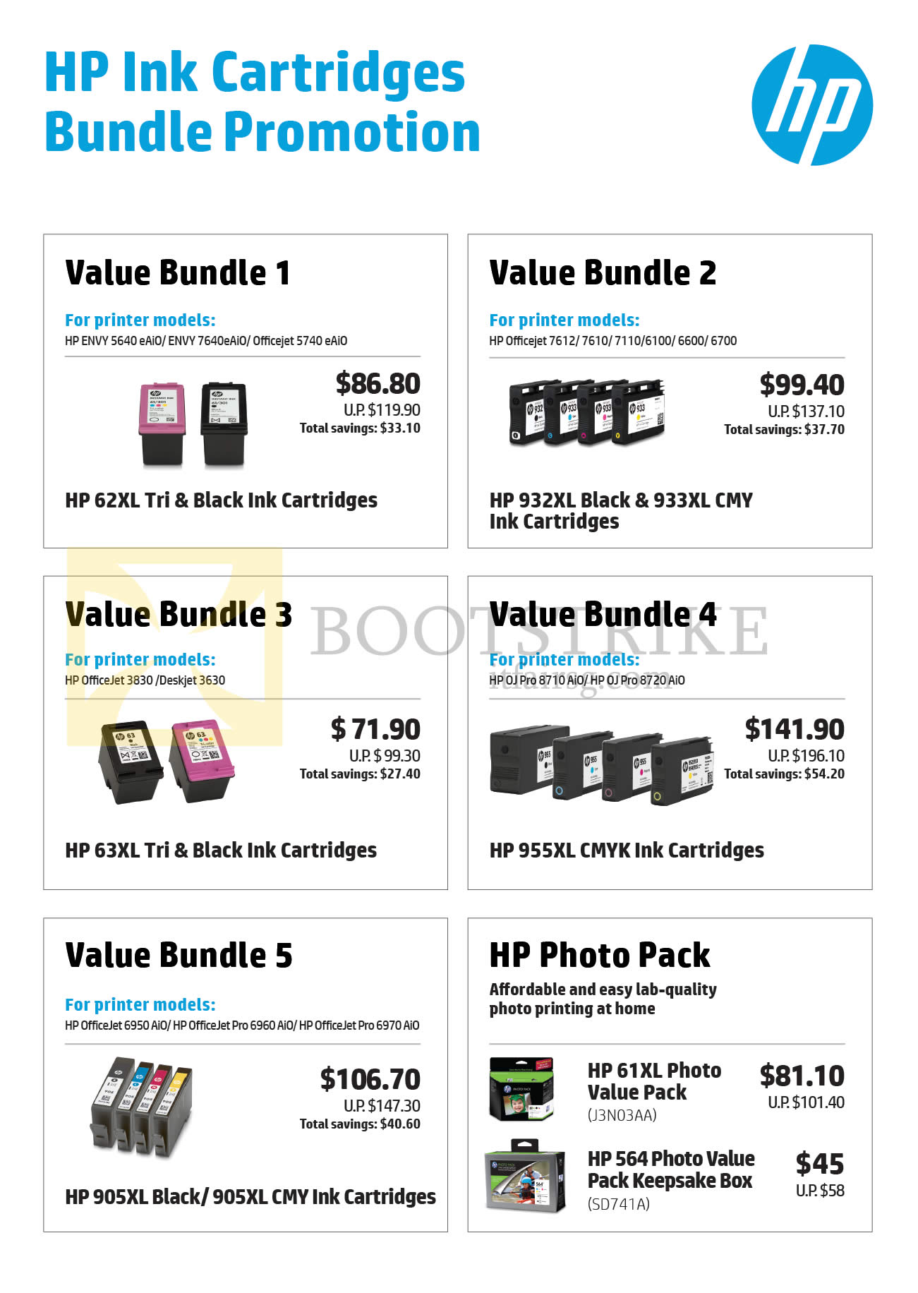COMEX 2016 price list image brochure of HP Ink Cartridges Bundle Promotions 1, 2, 3, 4, 5, HP Photo Pack