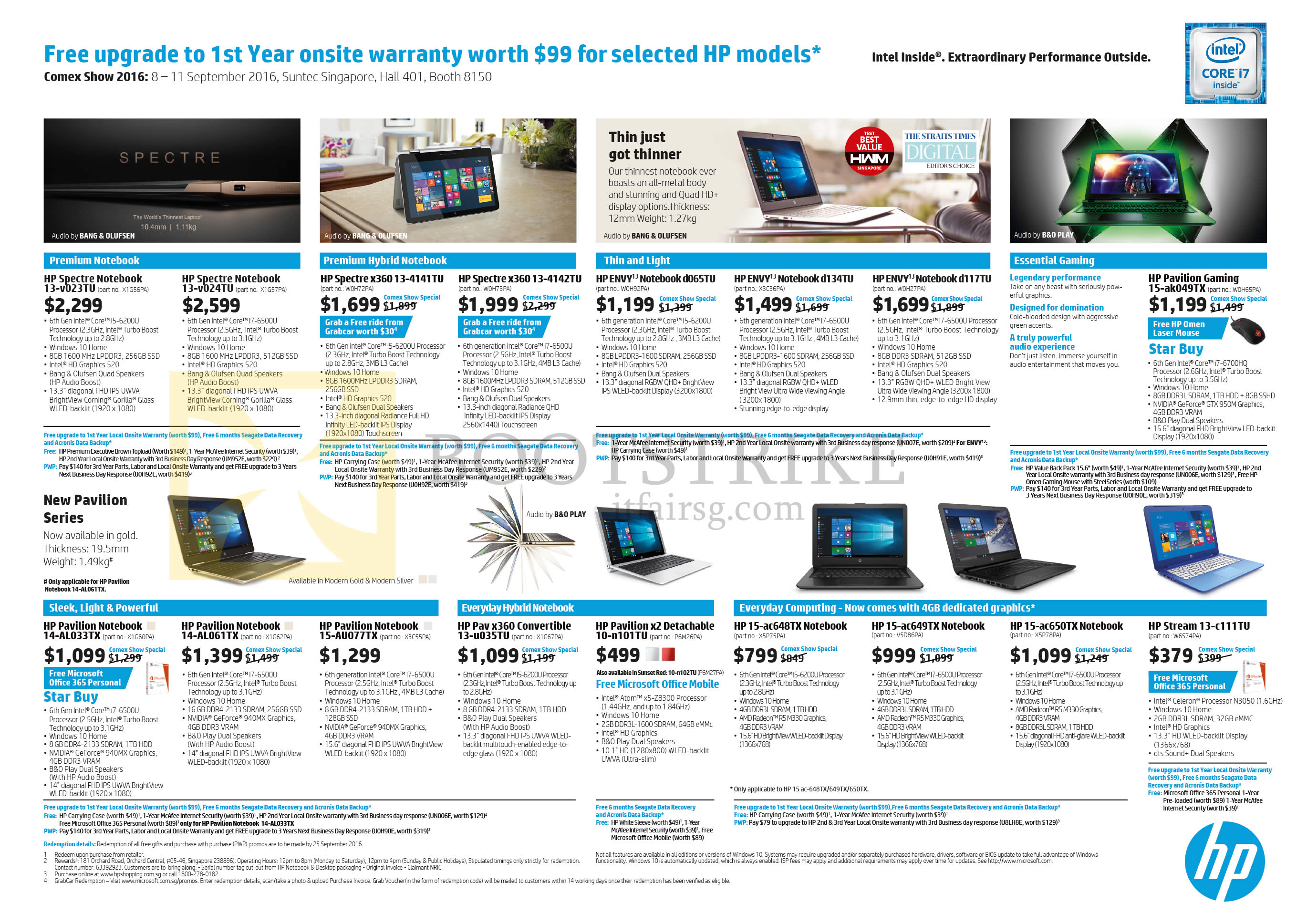 COMEX 2016 price list image brochure of HP Notebooks Spectre, Envy, Pavilion, Gaming, Stream Series