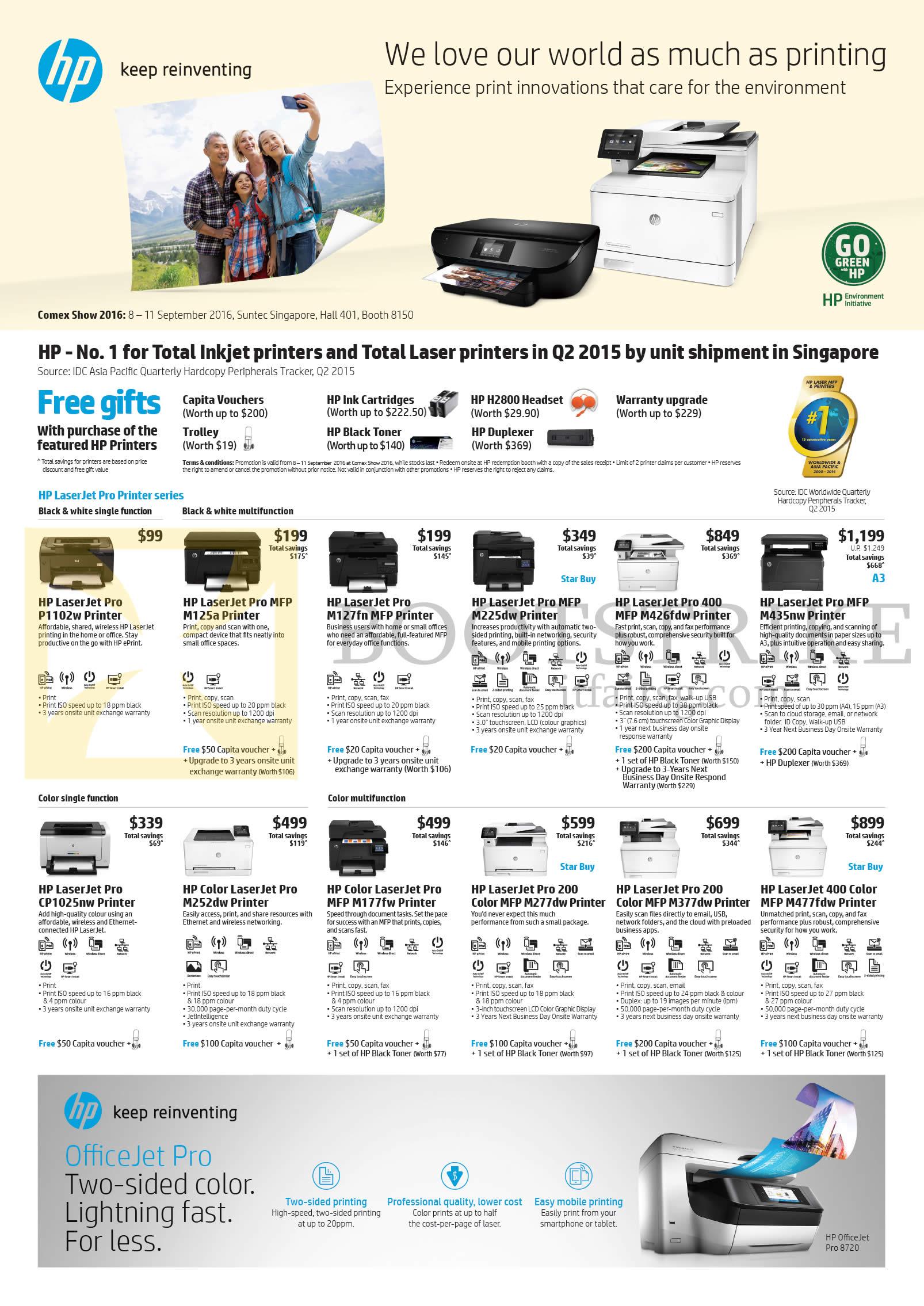 COMEX 2016 price list image brochure of HP Printers LaserJet Pro Black, White Single Function, Multi Function, Color Single Function, Color Multifunction
